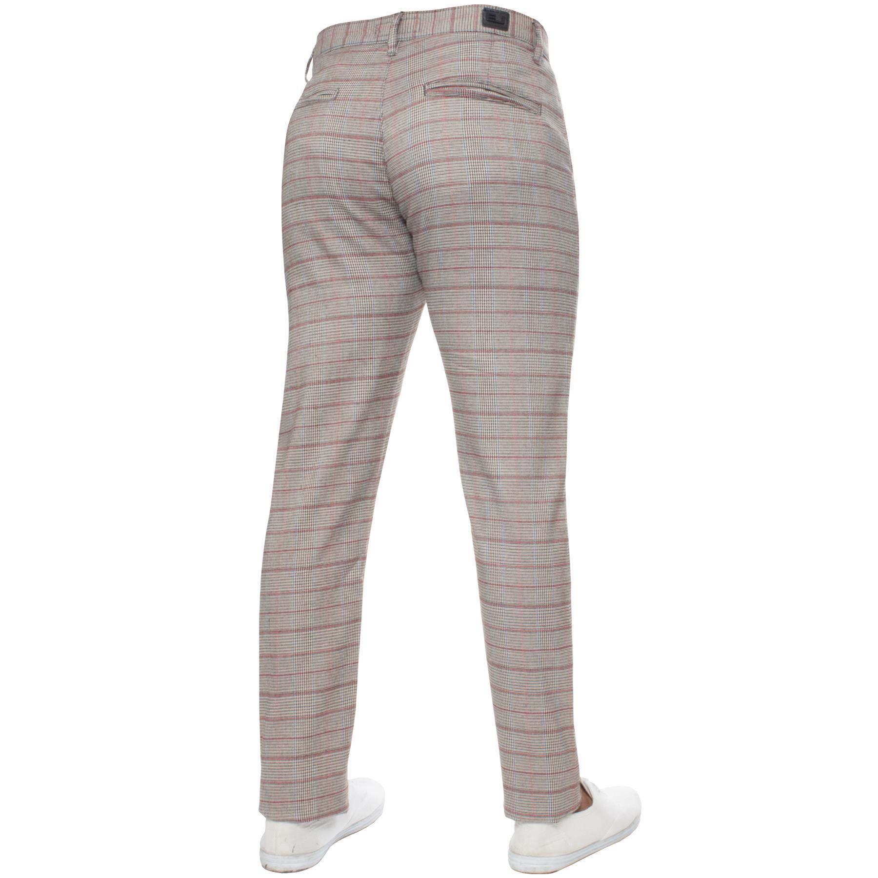 Para-Hombre-a-Cuadros-Pantalones-Slim-Fit-Smart-Casual-Elastico-Suave-Oficina-de-Trabajo-Pantalones miniatura 9