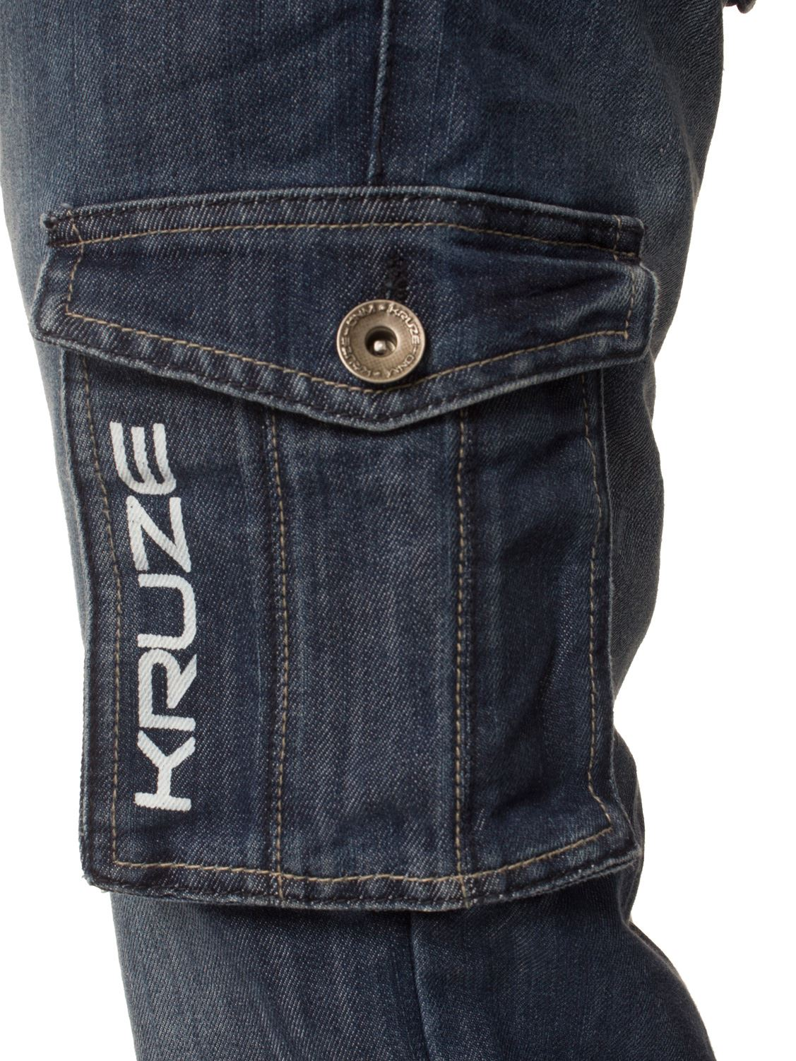 Grandes-jeans-para-hombre-de-combate-de-Kruze-Rey-Alto-Pierna-Cargo-Pantalones-Jeans-Pantalones miniatura 8