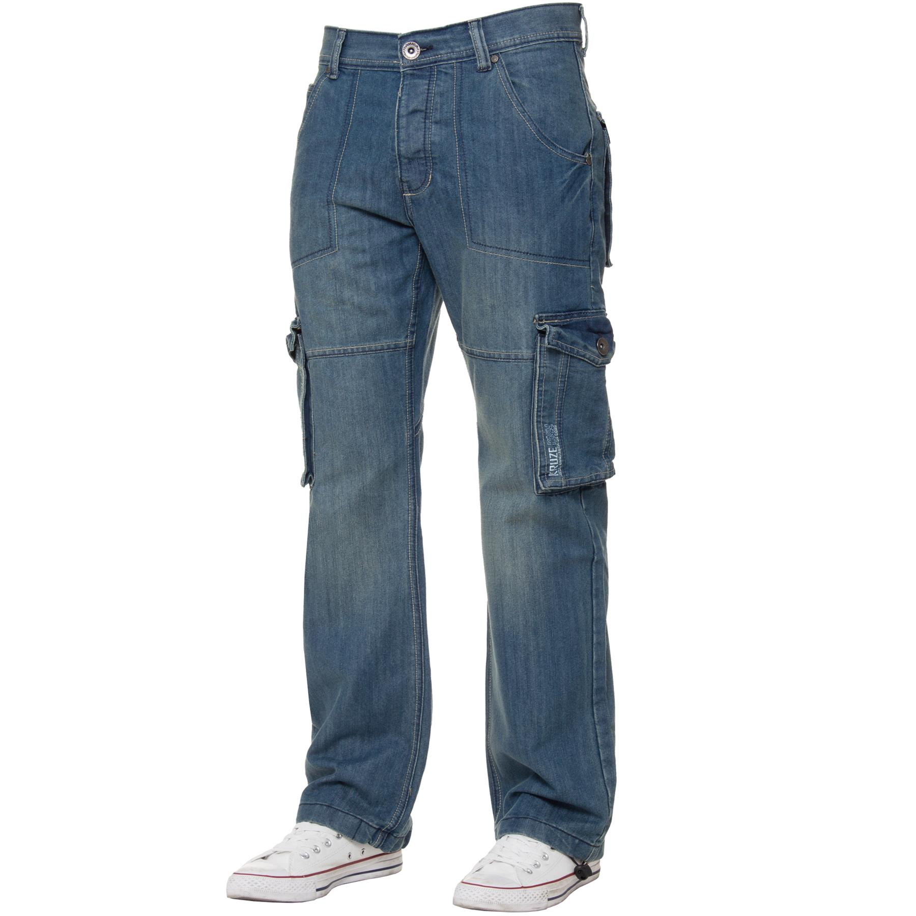 Kruze-Mens-Cargo-Combat-Jeans-Casual-Work-Denim-Pants-Big-Tall-All-Waist-Sizes thumbnail 4