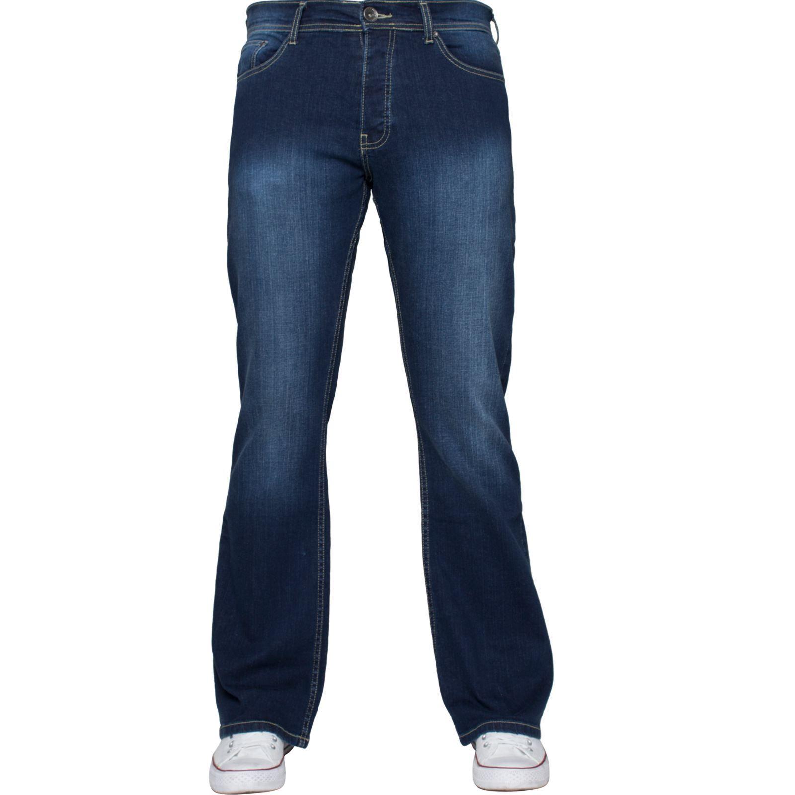Para-Hombre-Recto-Bootcut-Stretch-Jeans-Pantalones-Regular-Fit-Grande-Alto-Todas-Cinturas miniatura 30