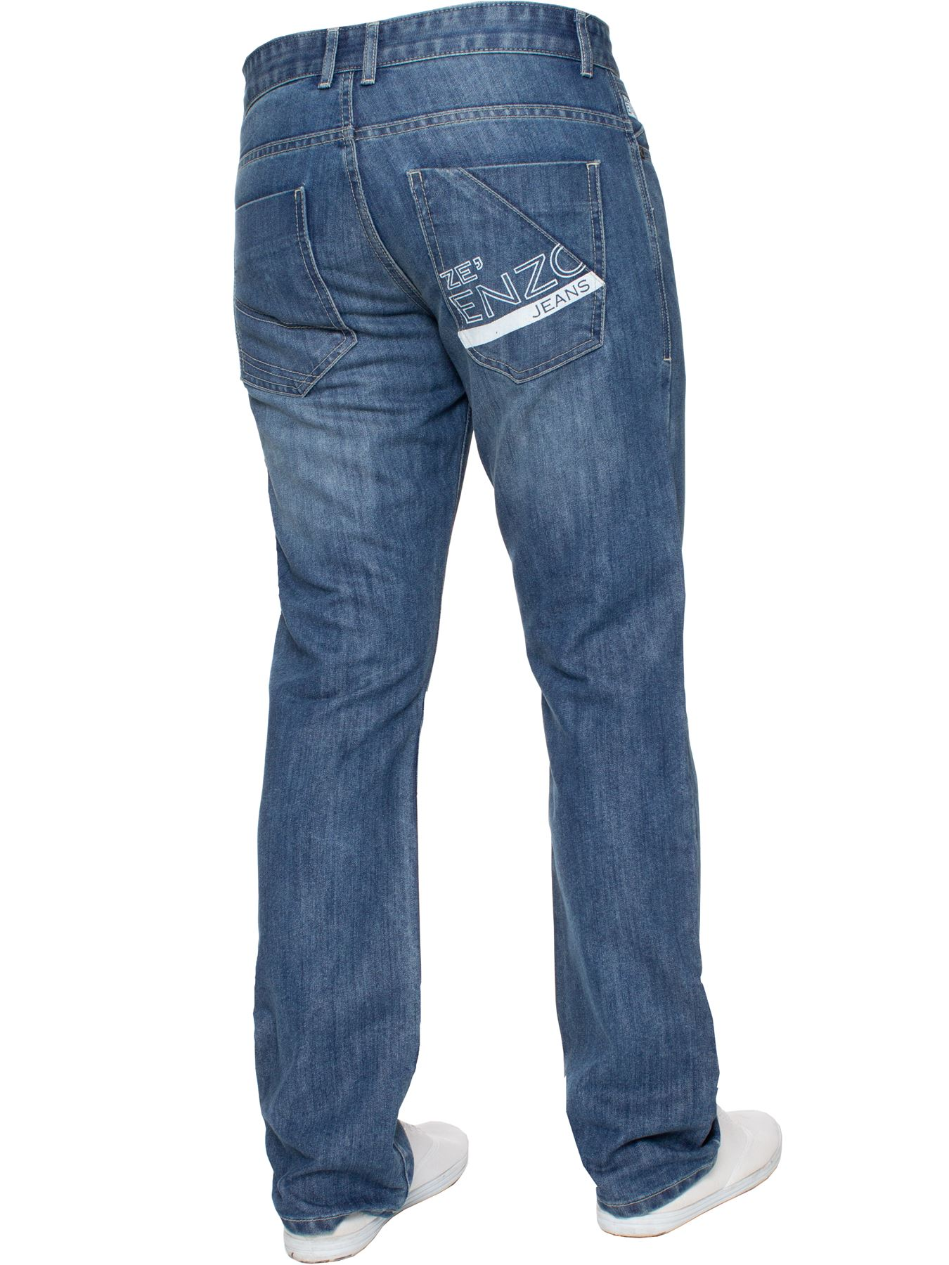 Enzo-Mens-Straight-Jeans-Regular-Leg-Designer-Work-Denim-Pants-All-Waists-Sizes thumbnail 24