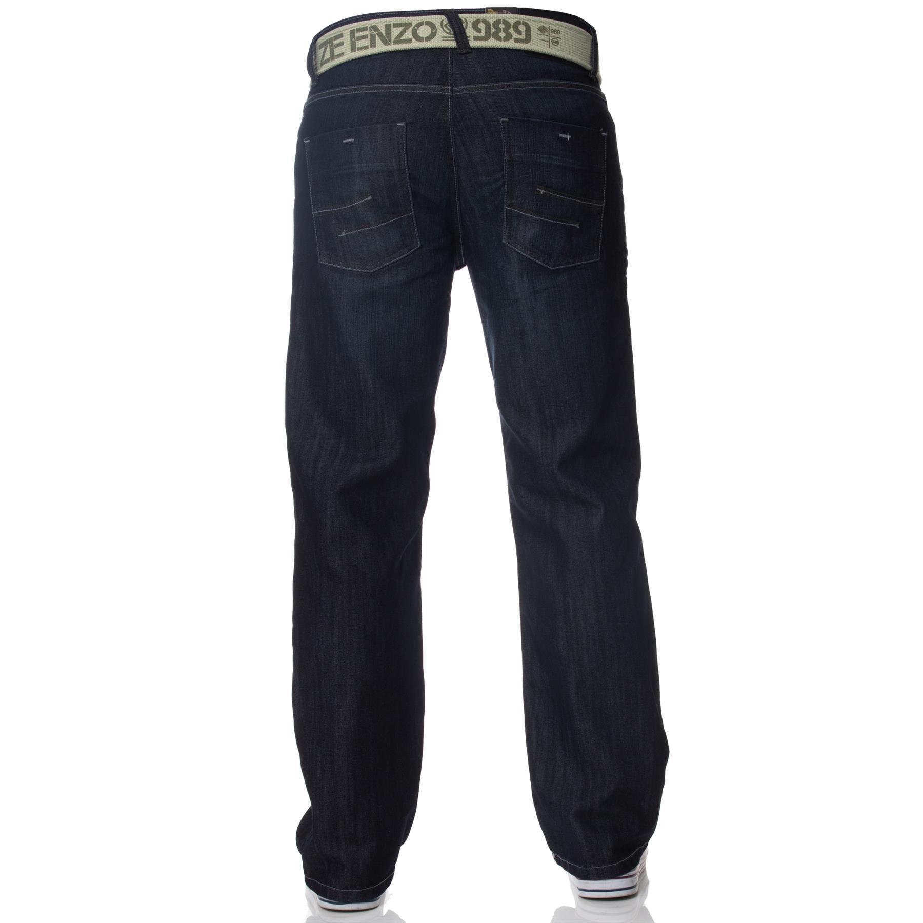Enzo-Mens-Jeans-Big-Tall-Leg-King-Size-Denim-Pants-Chino-Trousers-Waist-44-034-60-034 miniature 9
