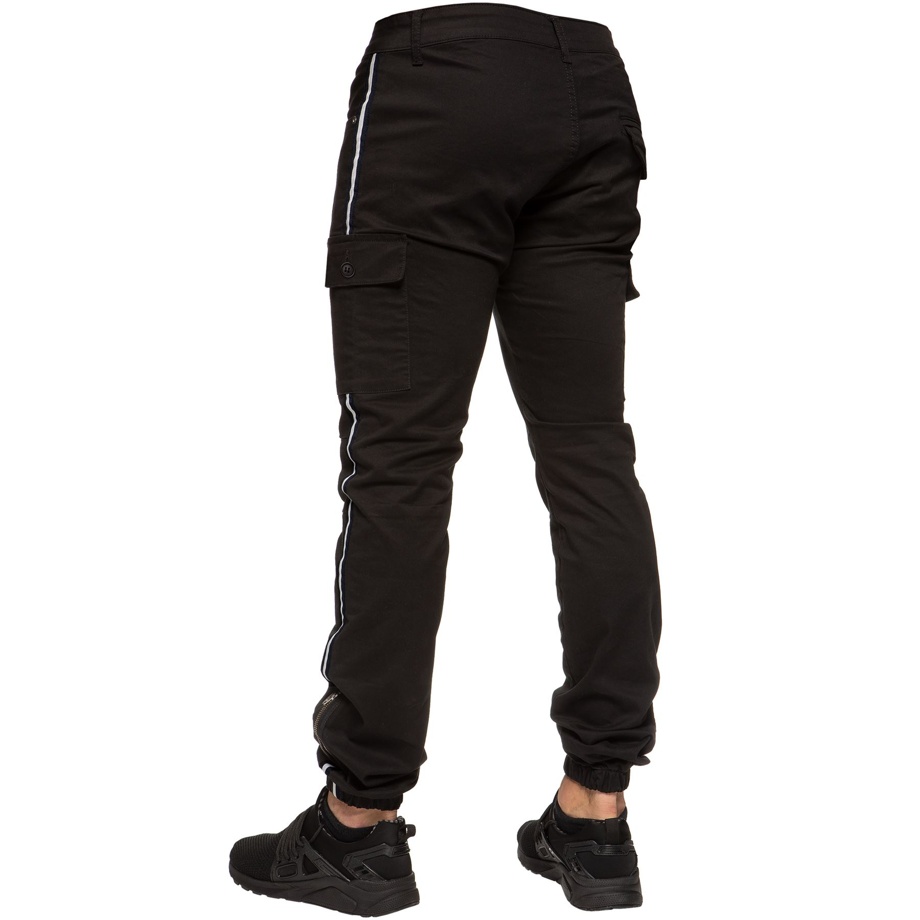 Enzo-Jeans-Mens-Combat-Trousers-Cargo-Chinos-Slim-Stretch-Cuffed-Joggers-Pants thumbnail 5