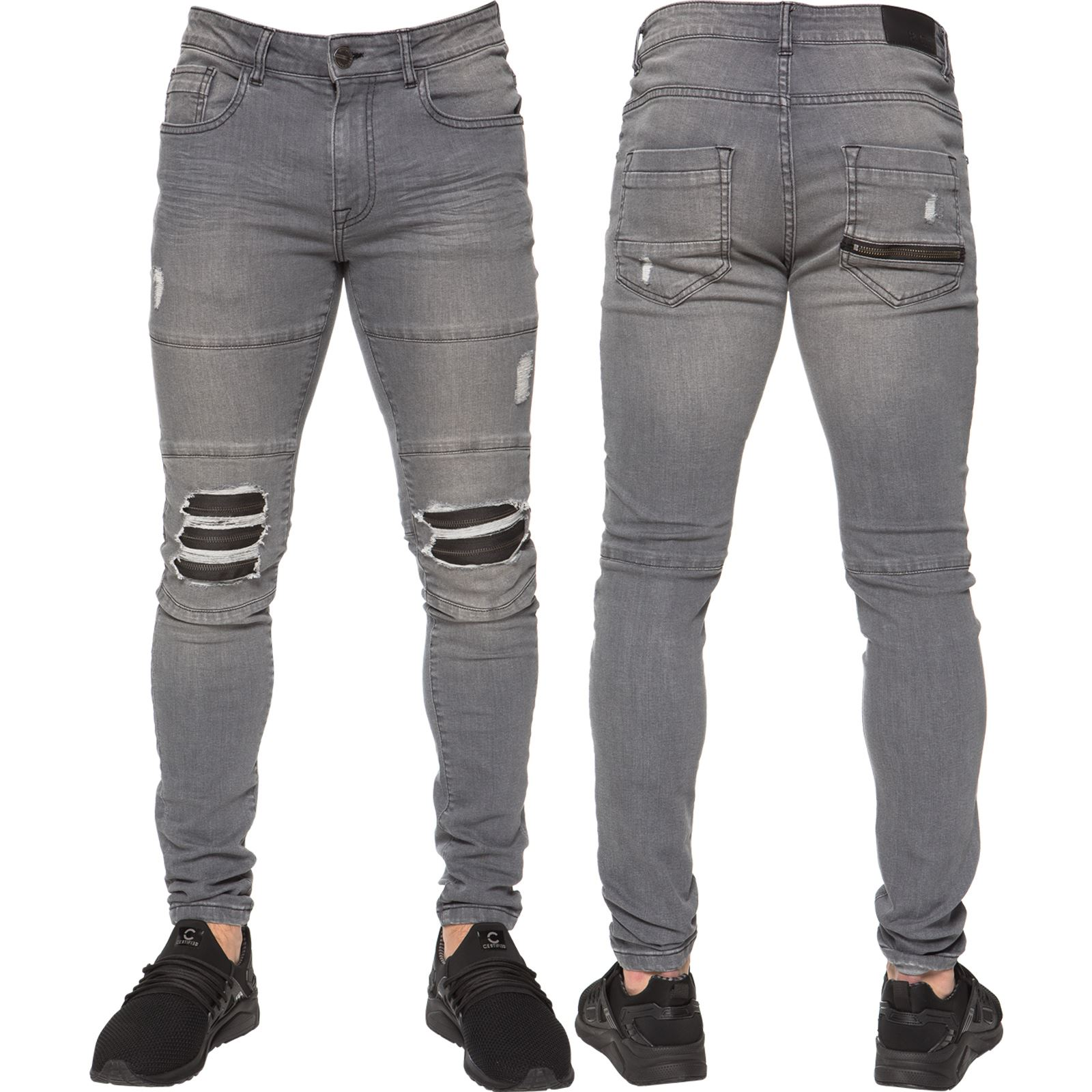 Enzo Designer Mens Skinny Ripped Jeans Super Stretch Slim Denim