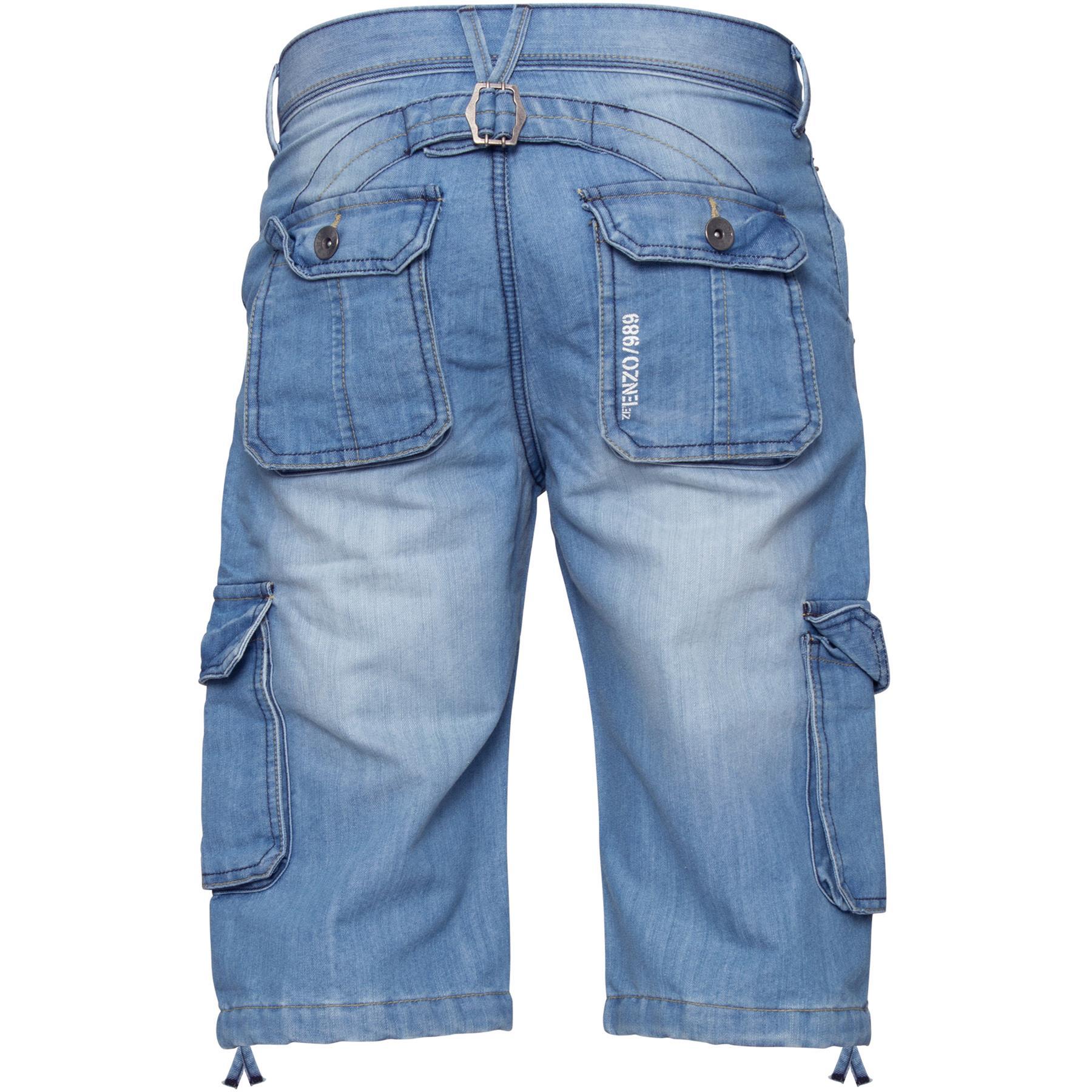 ENZO-Jeans-para-hombre-de-carga-combate-informal-de-verano-Shorts-Pantalones-Cortos-de-Jeans-Todas miniatura 12