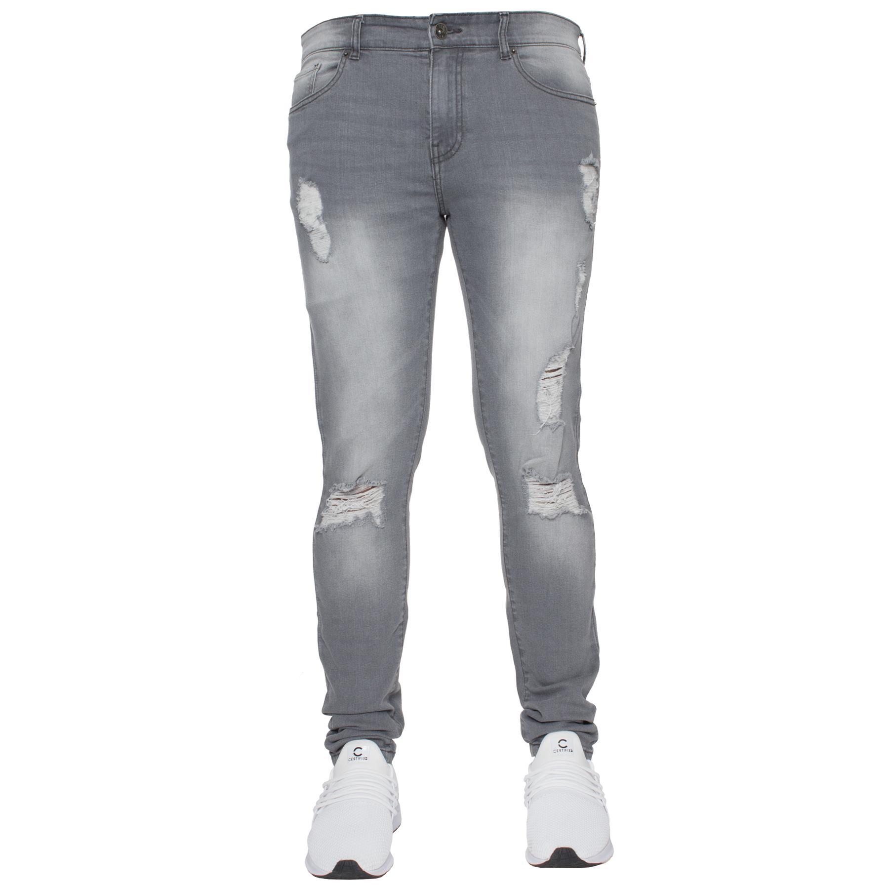 Para-hombre-Super-Skinny-Ripped-Jeans-Pantalones-Ajustados-desgastados-Denim-Envejecido-Todas miniatura 21