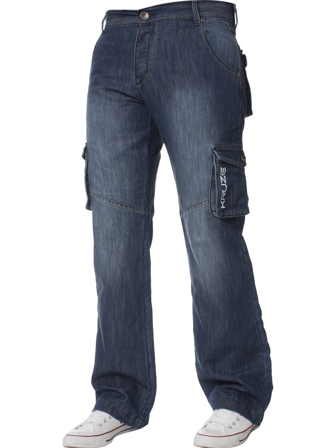 Grandes-jeans-para-hombre-de-combate-de-Kruze-Rey-Alto-Pierna-Cargo-Pantalones-Jeans-Pantalones miniatura 6