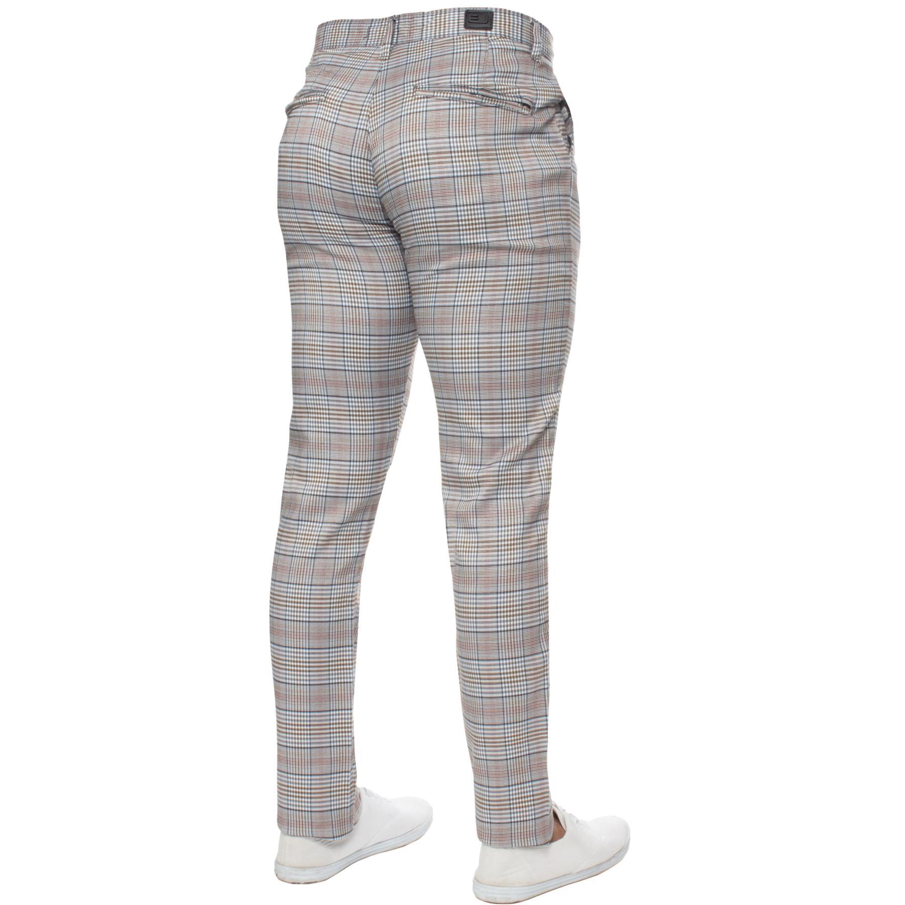 Para-Hombre-a-Cuadros-Pantalones-Slim-Fit-Smart-Casual-Elastico-Suave-Oficina-de-Trabajo-Pantalones miniatura 4