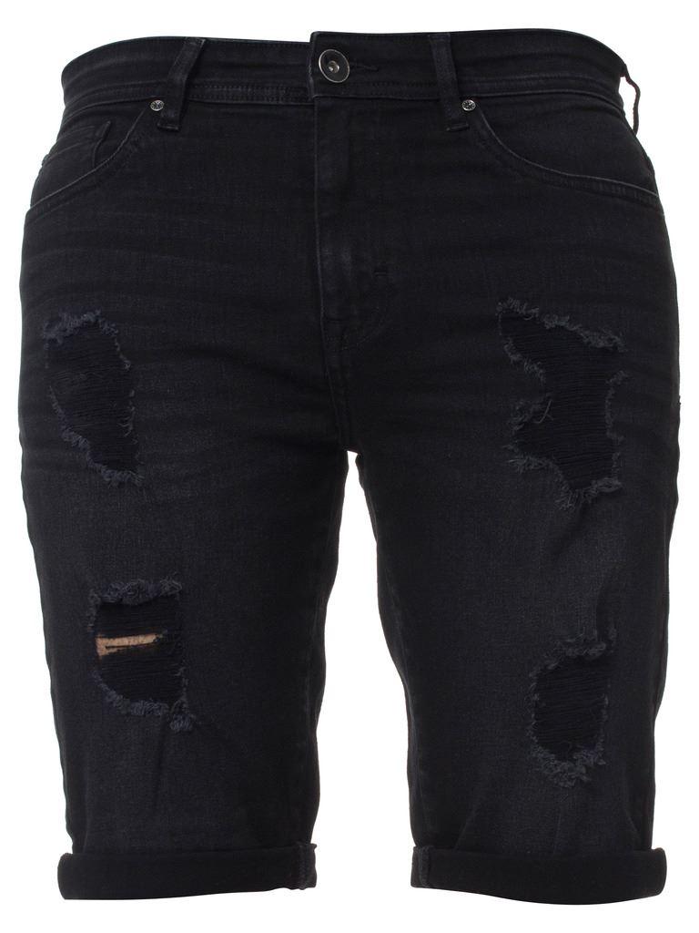 Kruze-Mens-Denim-Shorts-Stretch-Regular-Fit-Distressed-Ripped-Half-Jeans-Pants