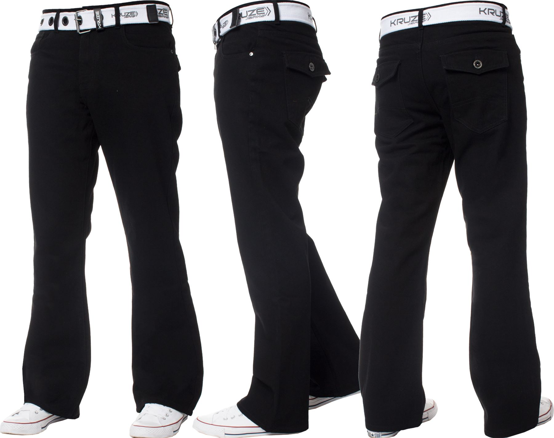 New-Kruze-Mens-Bootcut-Flare-Jeans-Wide-Leg-Denim-Pants-Big-King-All-Waist-Sizes