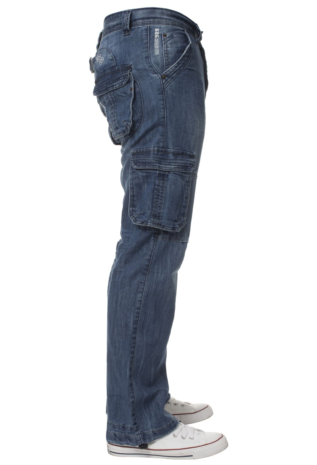 Enzo-Mens-Cargo-Combat-Trousers-Jeans-Work-Casual-Denim-Pants-Big-Tall-All-Waist thumbnail 11