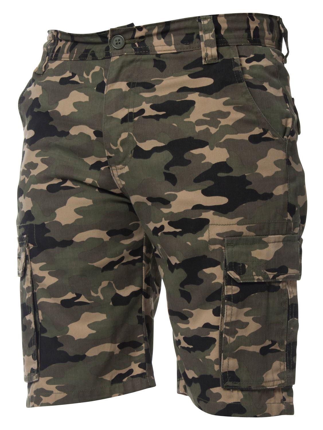 Kruze-Jeans-para-Hombre-Pantalones-Cortos-Combate-del-ejercito-camuflaje-Camo-Trabajo-Shorts miniatura 14