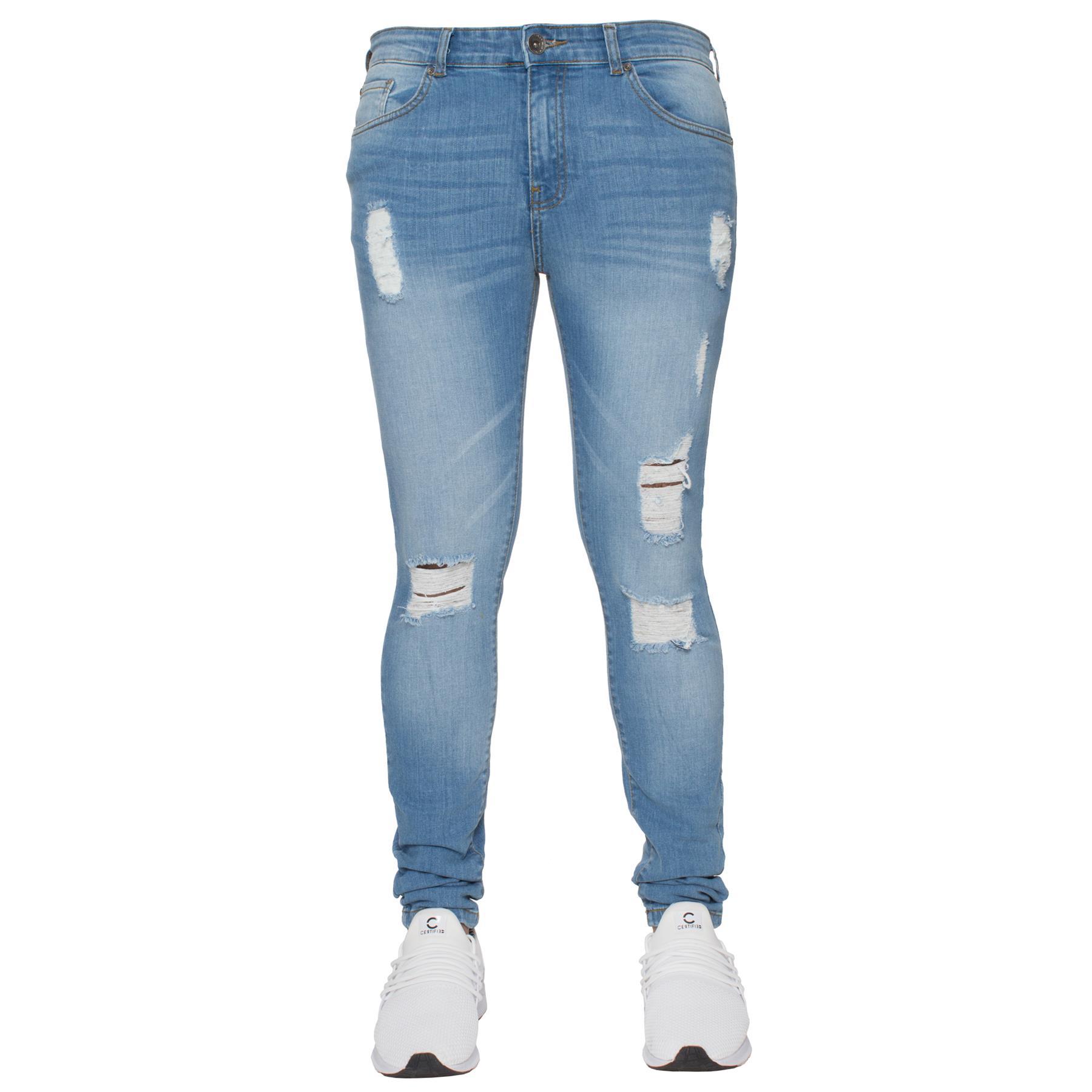 Para-hombre-Super-Skinny-Ripped-Jeans-Pantalones-Ajustados-desgastados-Denim-Envejecido-Todas miniatura 13