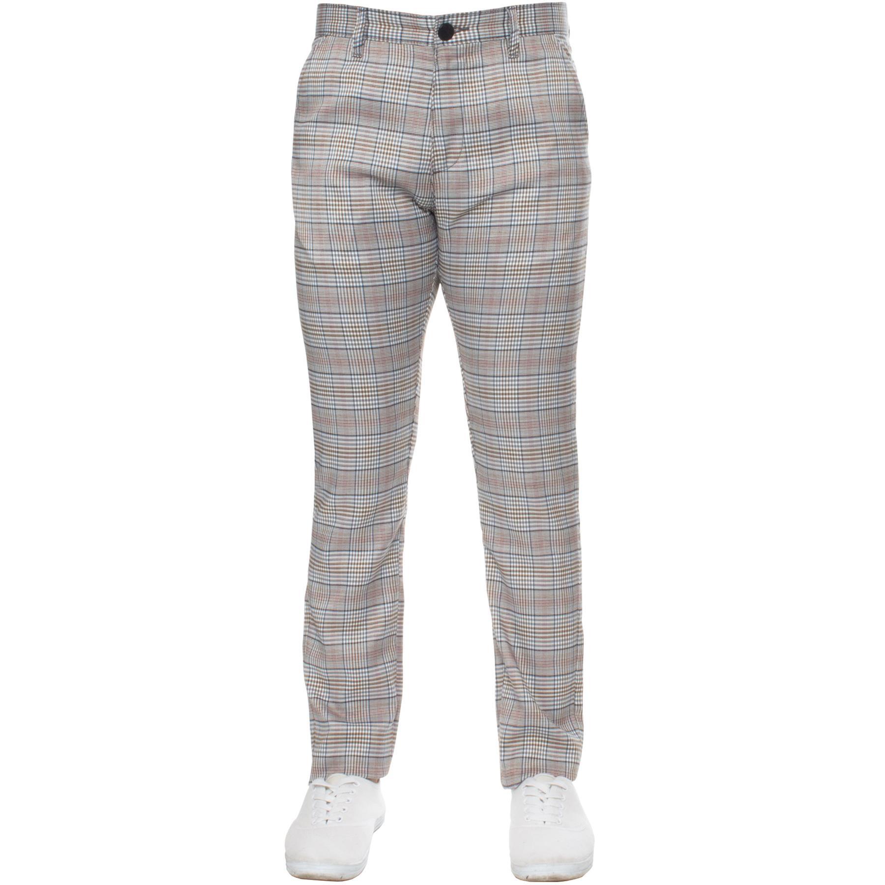 Para-Hombre-a-Cuadros-Pantalones-Slim-Fit-Smart-Casual-Elastico-Suave-Oficina-de-Trabajo-Pantalones miniatura 5