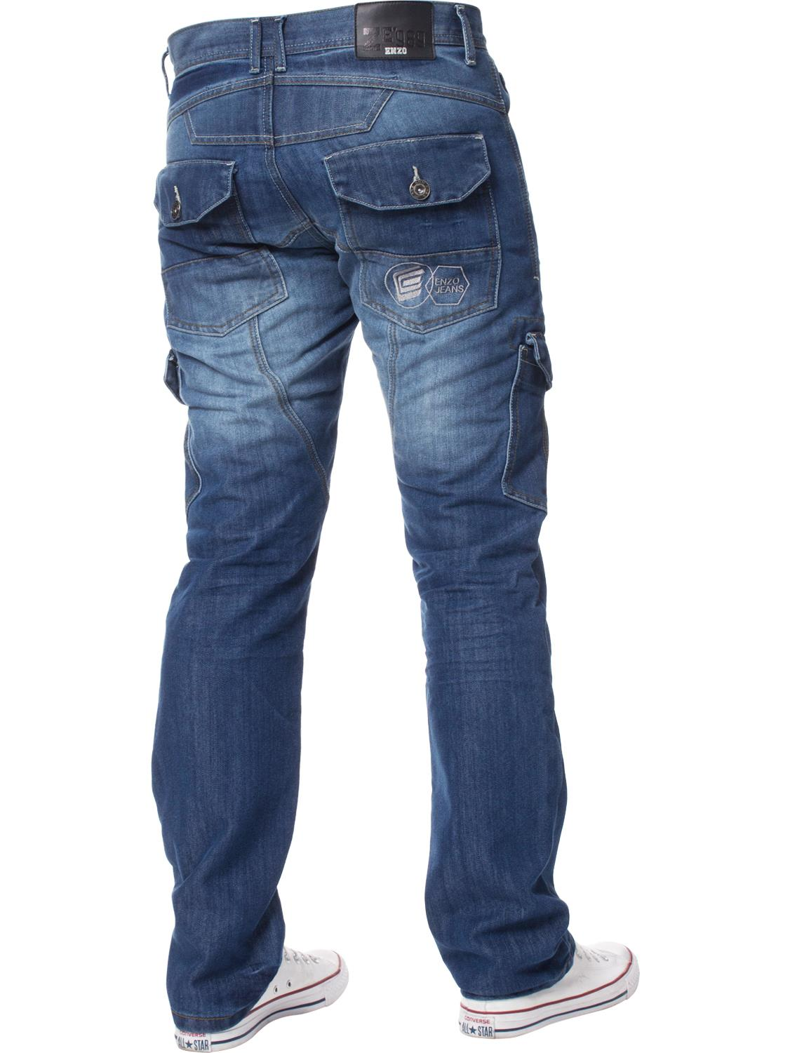 Enzo-Mens-Jeans-Big-Tall-Leg-King-Size-Denim-Pants-Chino-Trousers-Waist-44-034-60-034 miniature 83