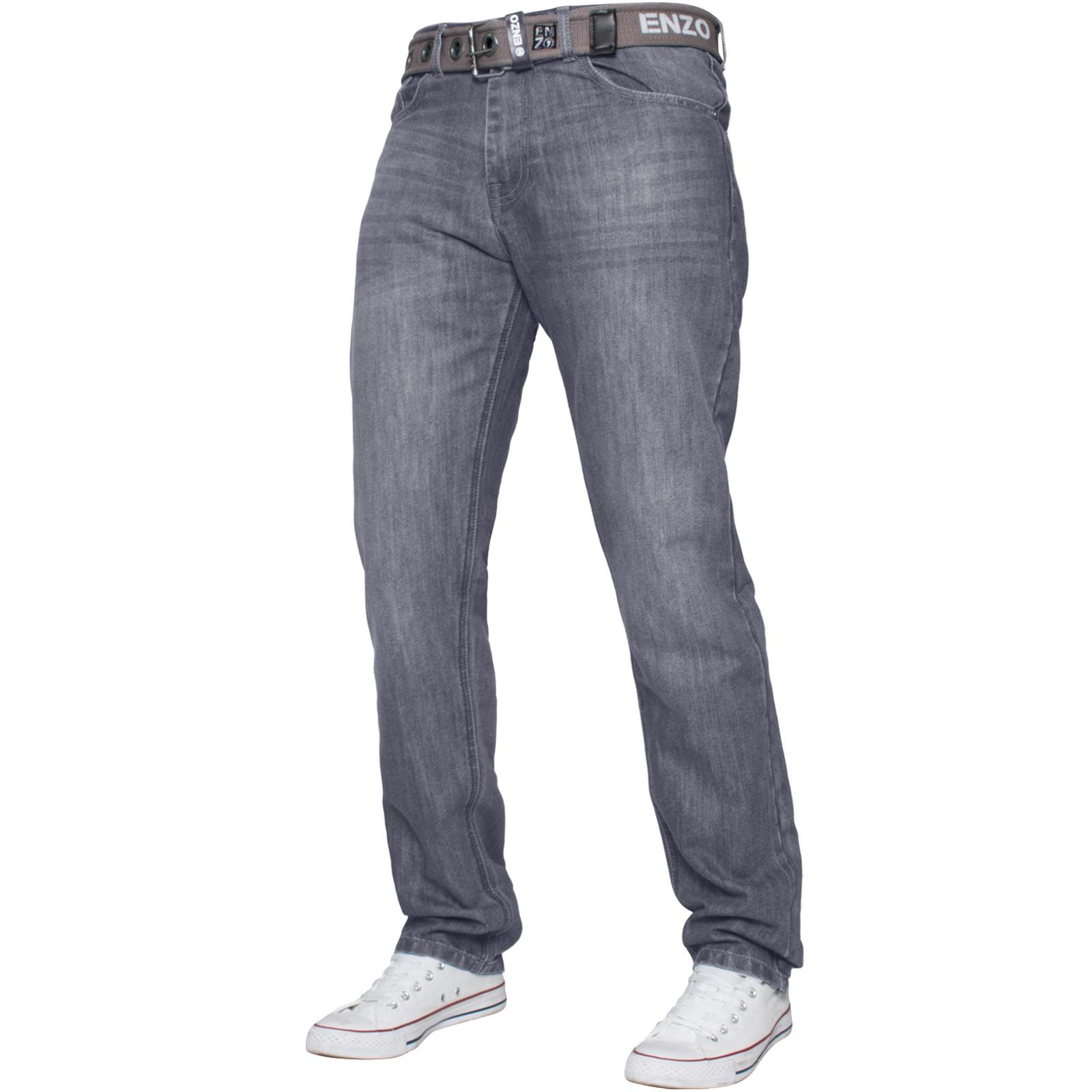 Enzo-Mens-Straight-Leg-Jeans-Regular-Fit-Denim-Pants-Big-Tall-All-Waists-Sizes thumbnail 12
