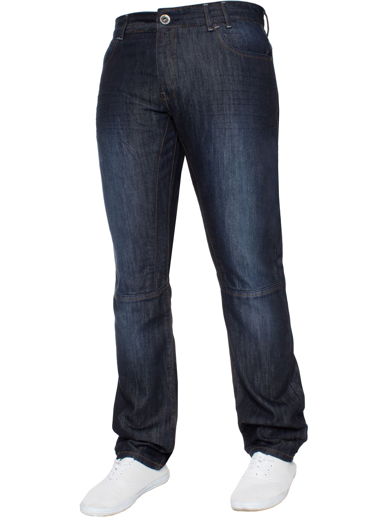 Enzo-Mens-Straight-Jeans-Regular-Leg-Designer-Work-Denim-Pants-All-Waists-Sizes thumbnail 34