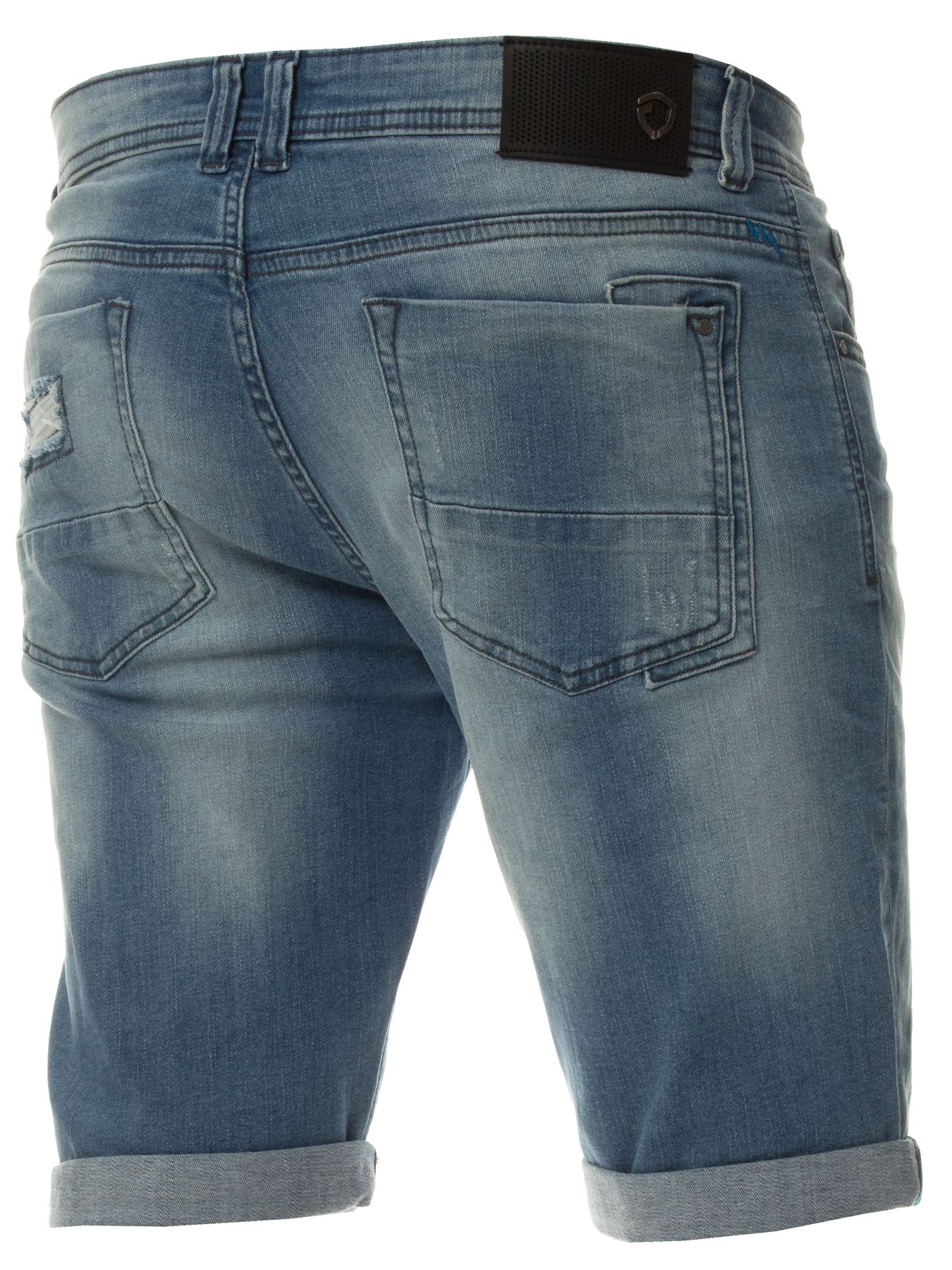 Mens-Denim-Shorts-ETO-Jeans-Stretch-Slim-Fit-Distressed-Ripped-Blue-Half-Pants thumbnail 10