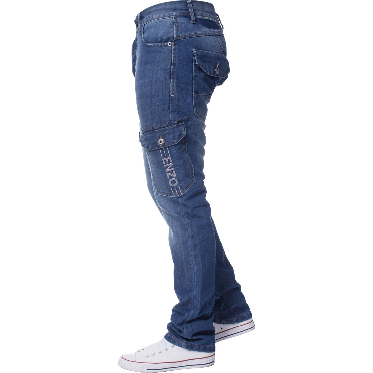 Enzo-Mens-Jeans-Big-Tall-Leg-King-Size-Denim-Pants-Chino-Trousers-Waist-44-034-60-034 miniature 84