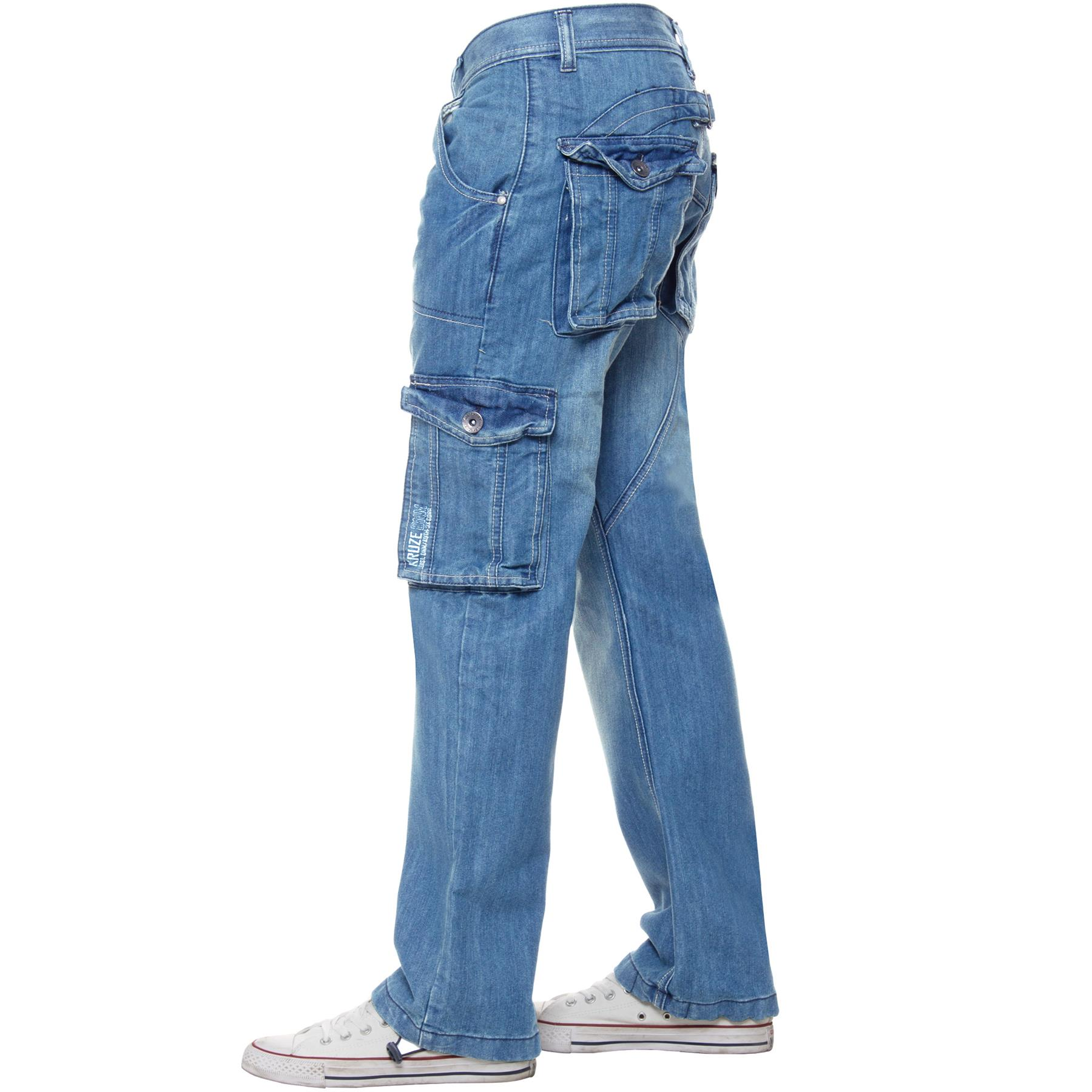 Kruze-Mens-Combat-Jeans-Casual-Cargo-Work-Denim-Trousers-Big-Tall-All-Waists thumbnail 14