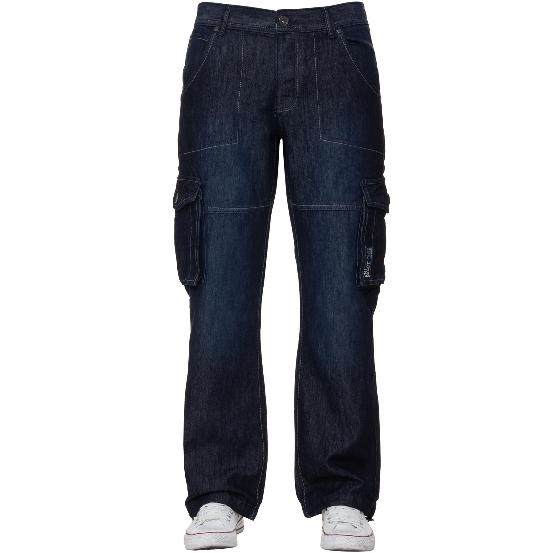 Kruze-Mens-Combat-Jeans-Casual-Cargo-Work-Denim-Trousers-Big-Tall-All-Waists thumbnail 10