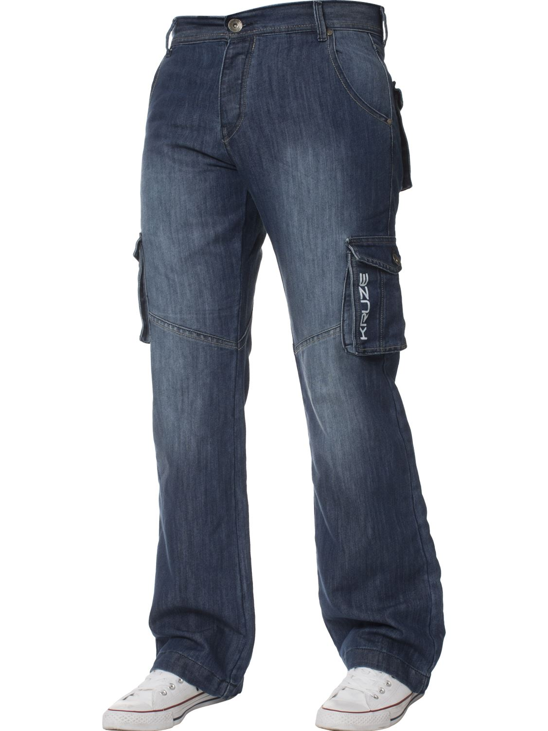 KRUZE-Mens-Combat-Jeans-Casual-Cargo-Work-Pants-Denim-Trousers-All-Waist-Sizes thumbnail 14