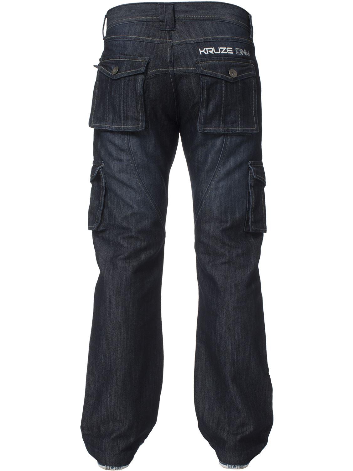Grandes-jeans-para-hombre-de-combate-de-Kruze-Rey-Alto-Pierna-Cargo-Pantalones-Jeans-Pantalones miniatura 12