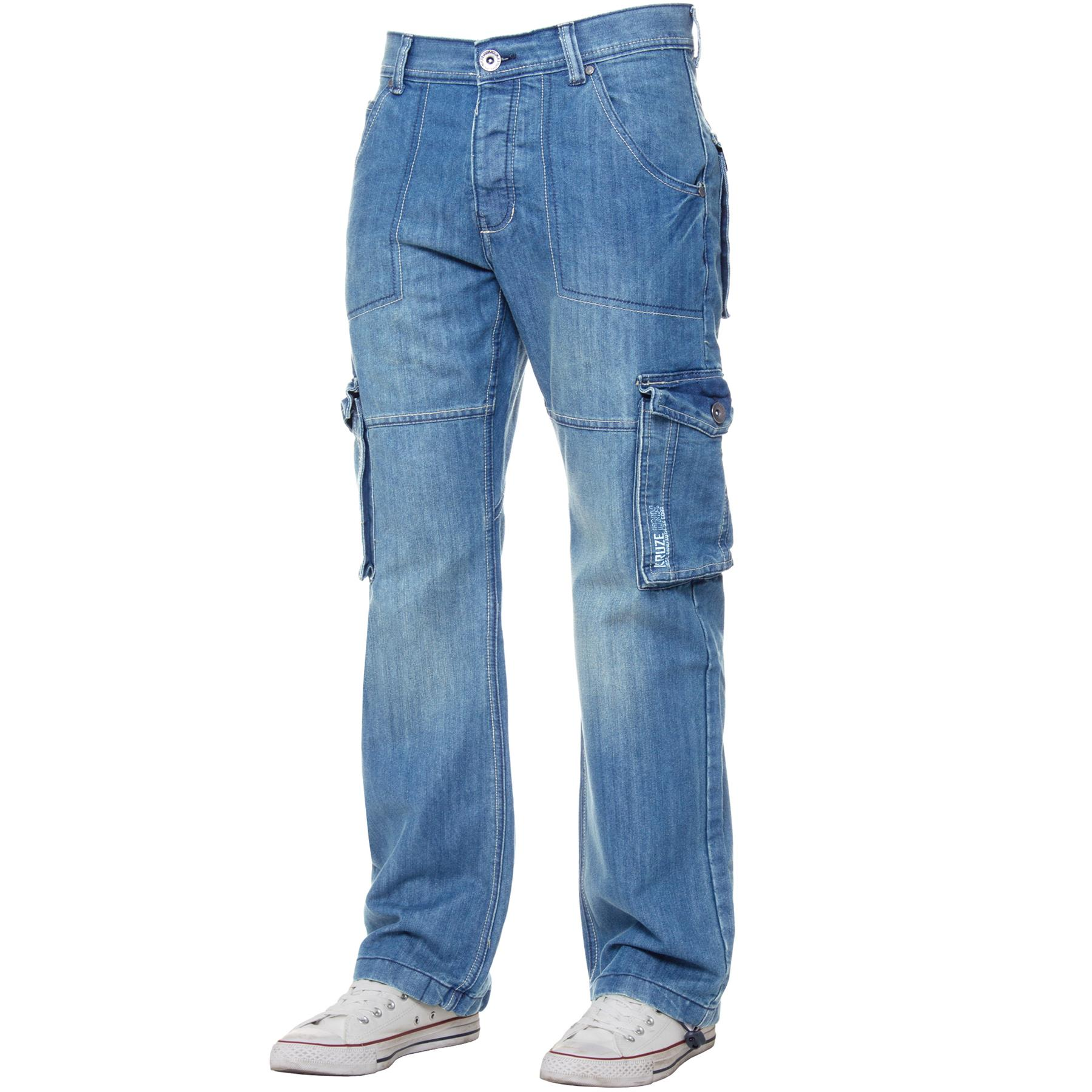 Kruze-Mens-Cargo-Combat-Jeans-Casual-Work-Denim-Pants-Big-Tall-All-Waist-Sizes thumbnail 40
