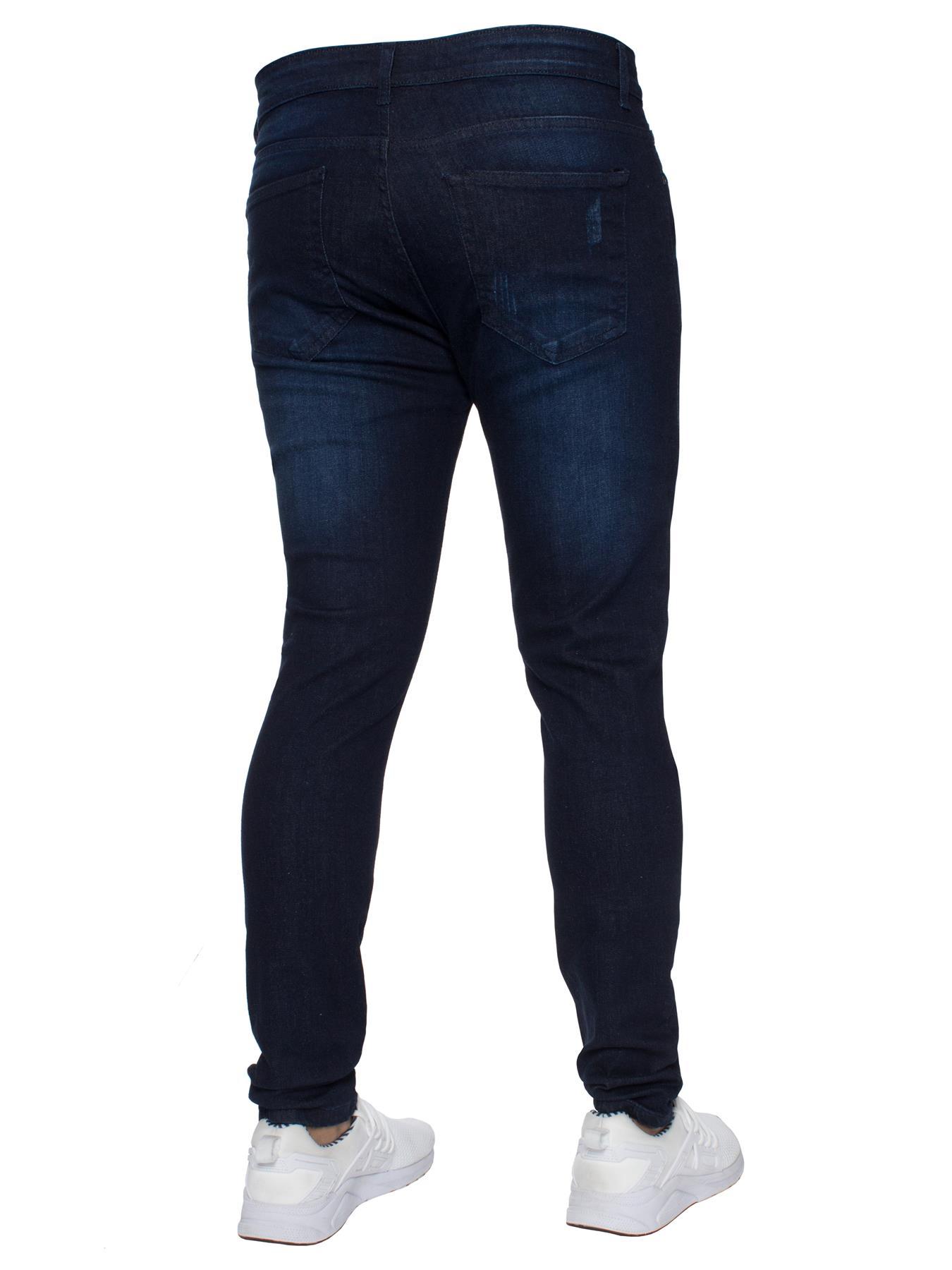 Para-hombre-Super-Skinny-Ripped-Jeans-Pantalones-Ajustados-desgastados-Denim-Envejecido-Todas miniatura 8