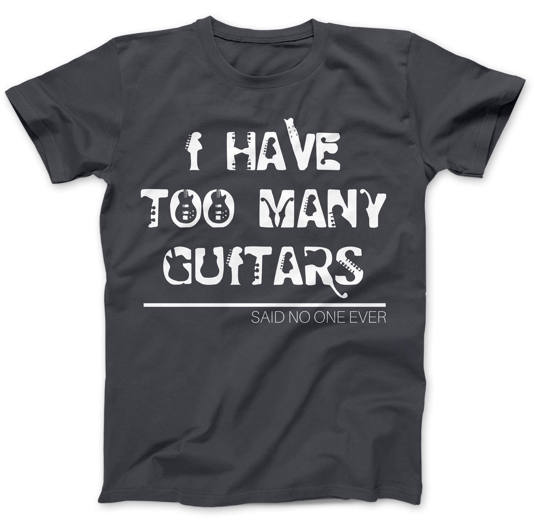 Too Many Guitars Guitarist Rock T-Shirt Premium Cotton Electric Gift Present