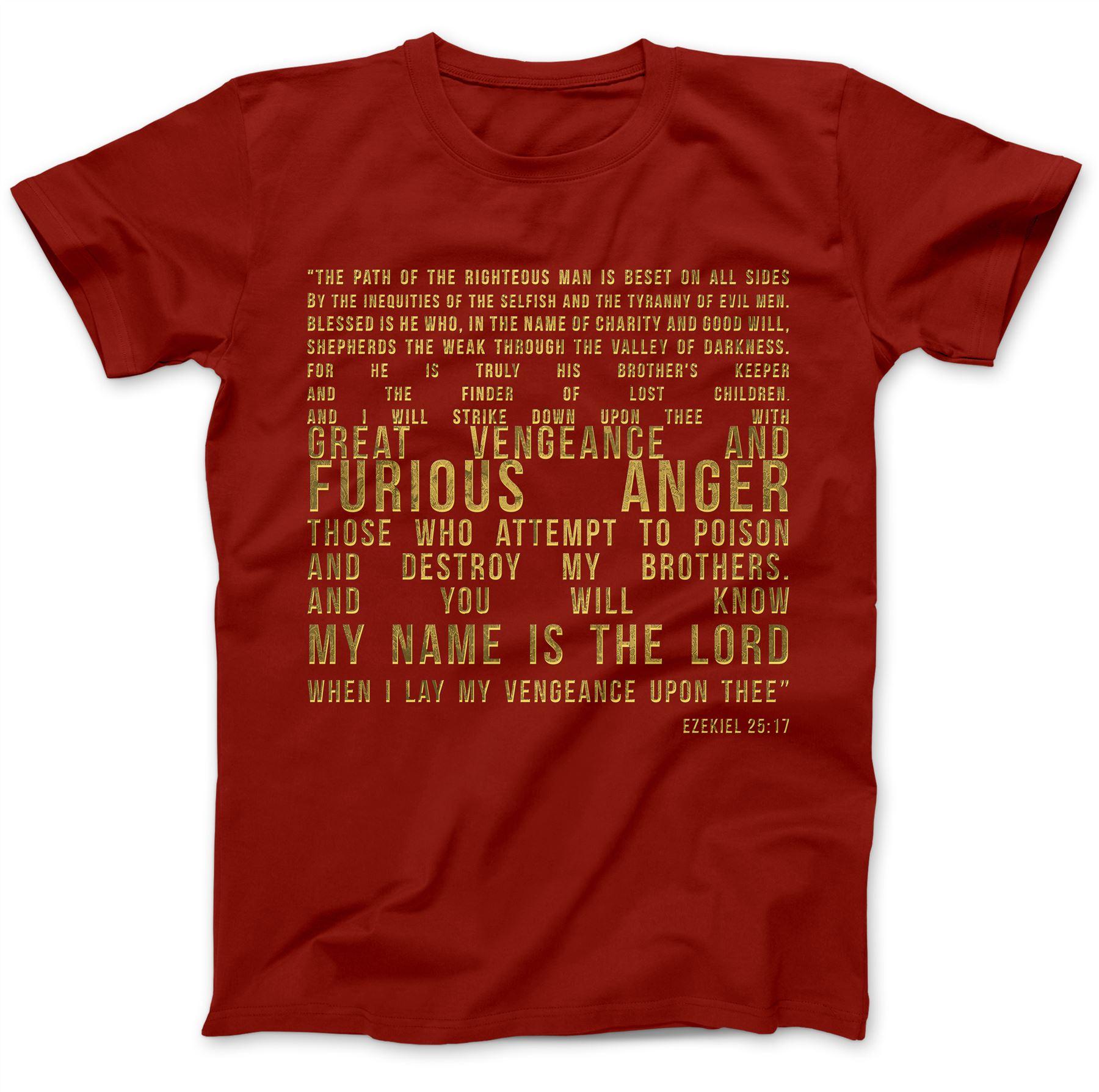 Ezekiel 25:17 T-Shirt 100/% Premium Cotton Samuel L Jackson Pulp Fiction Quote