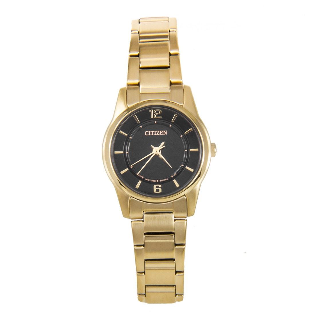 New ER0182-59E Citizen Quartz WR50m Ladies Gold Case Black ...