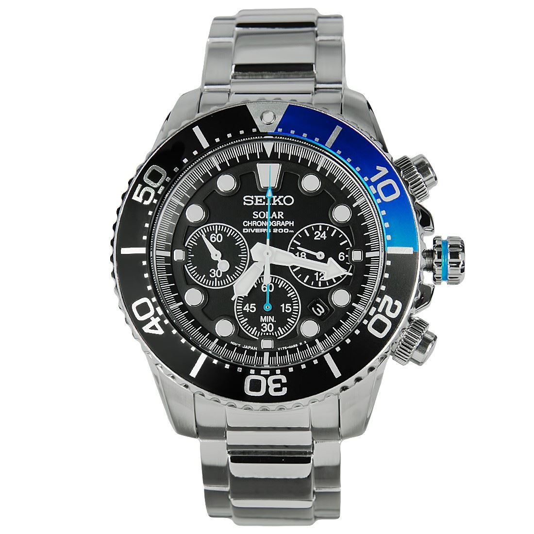 Seiko solar chronograph ssc019p1 ssc013p1 ssc017p1 male analog sports watches ebay for Solar watches