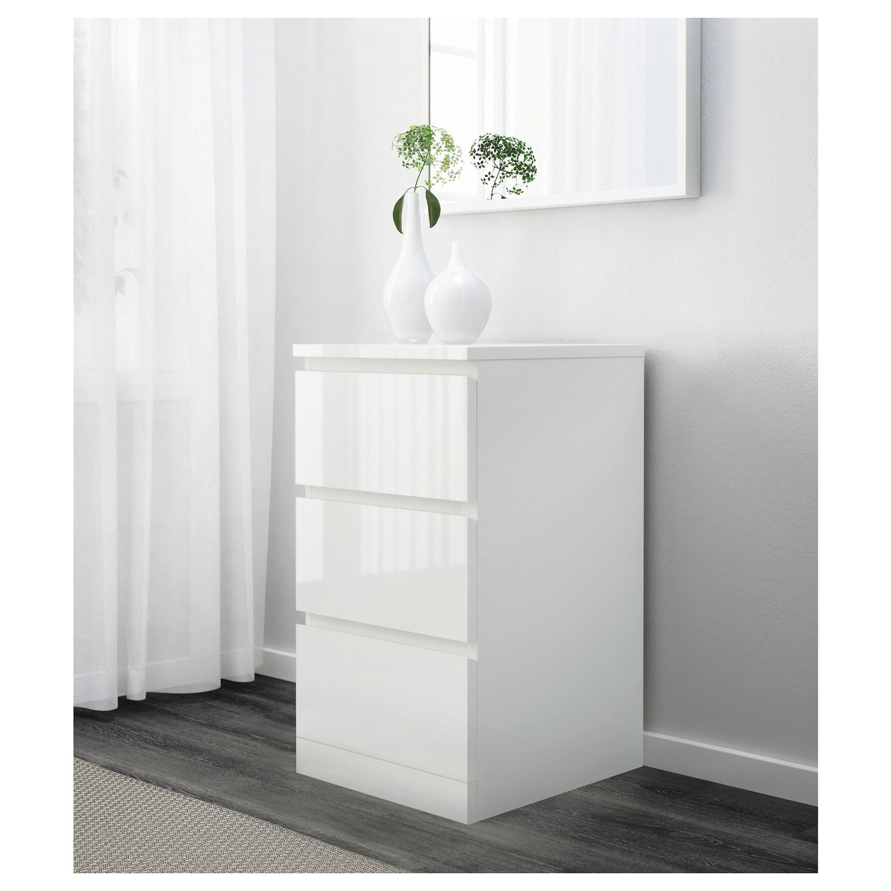 white bedroom furniture ikea. Ikea Malm Chest Of 3 Drawers 40x78cm White High Gloss Bedroom Furniture