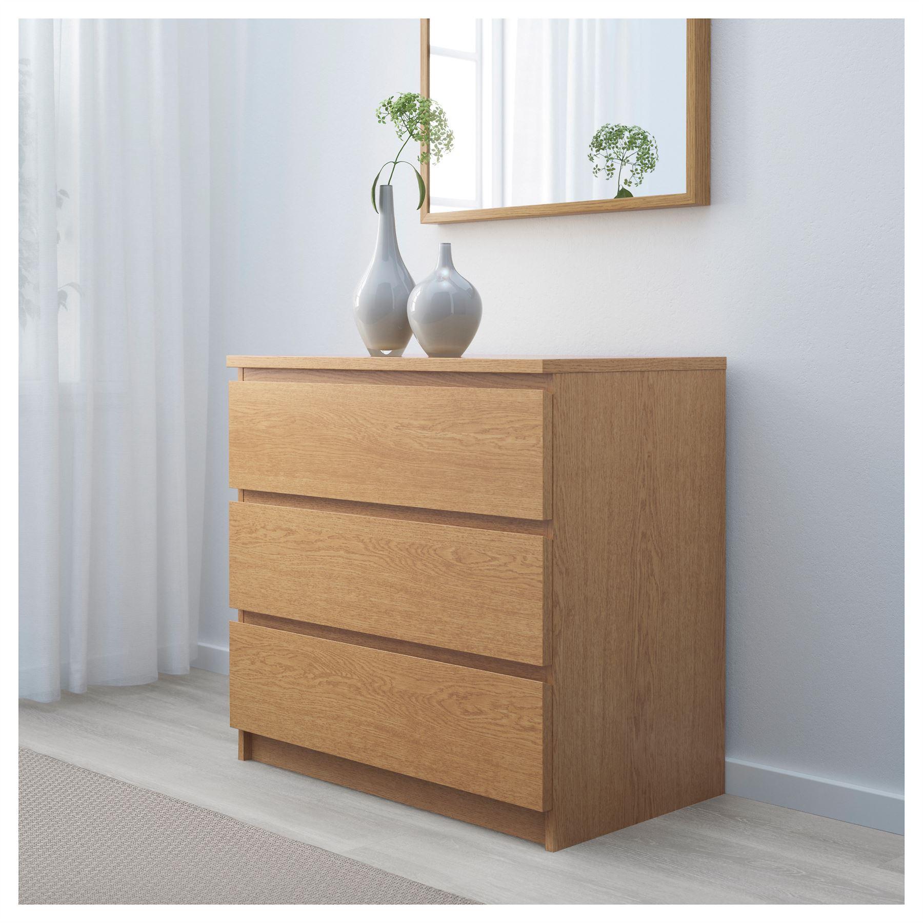 Ikea Malm Chest Of 3 Drawers 80x78cm Oak Veneer Bedroom