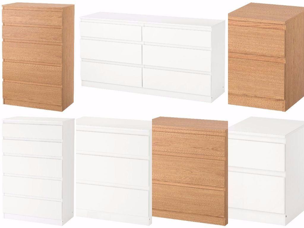 ikea kullen chest of drawers bedroom furniture white & oak effect | ebay