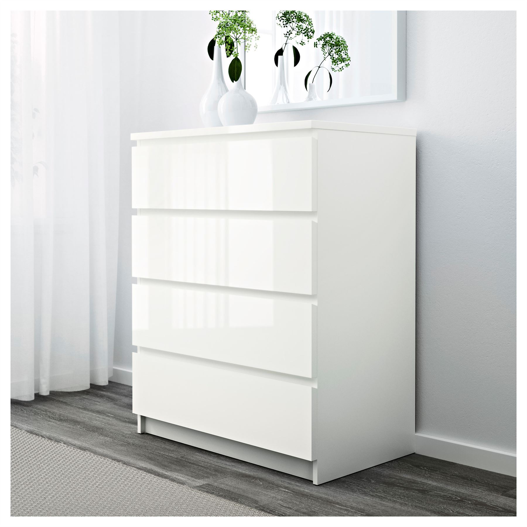 Ikea Malm Chest Of 4 Drawers 80x100cm White High Gloss Bedroom Furniture Ebay