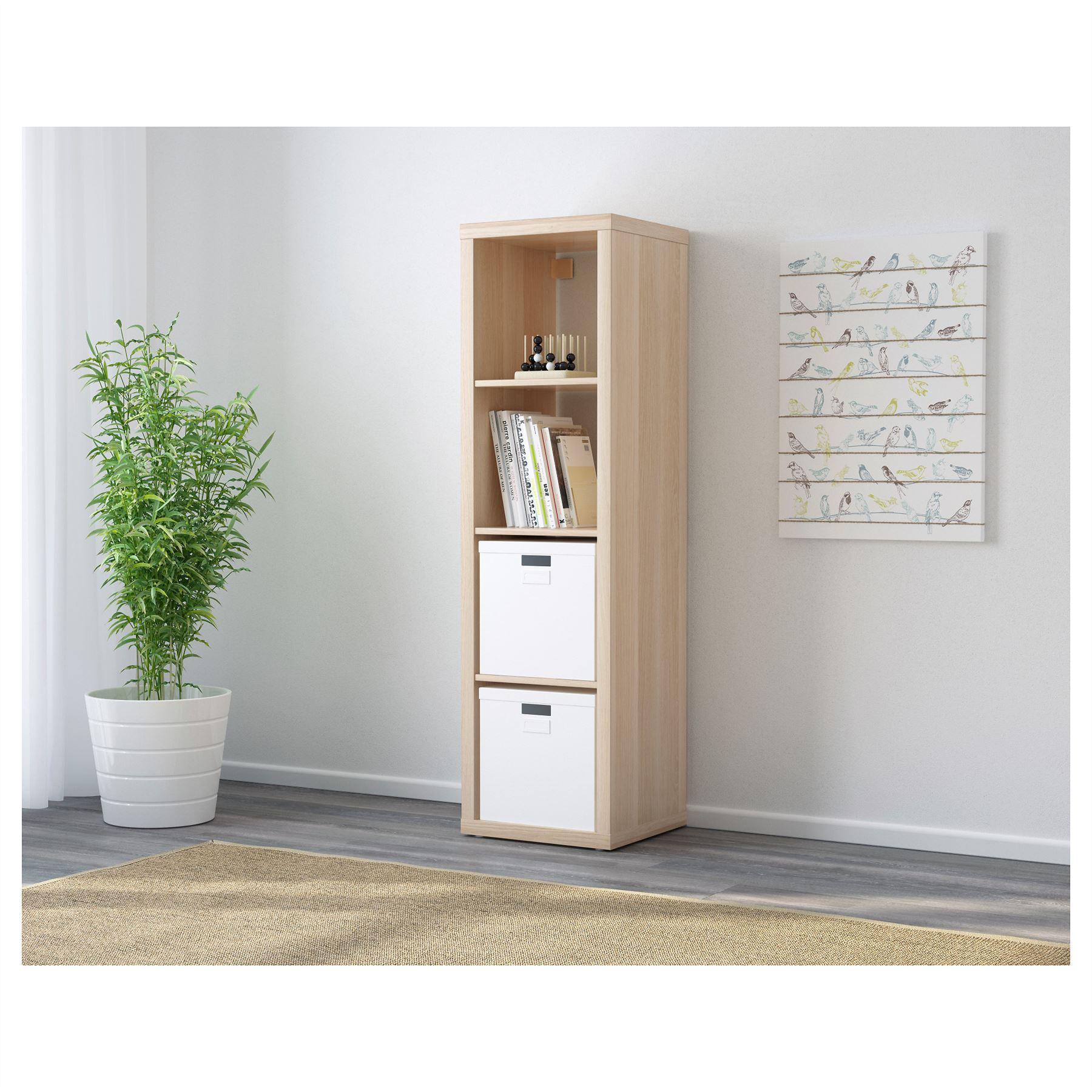 ikea kallax 4 cube storage bookcase rectangle shelving unit white oak ebay