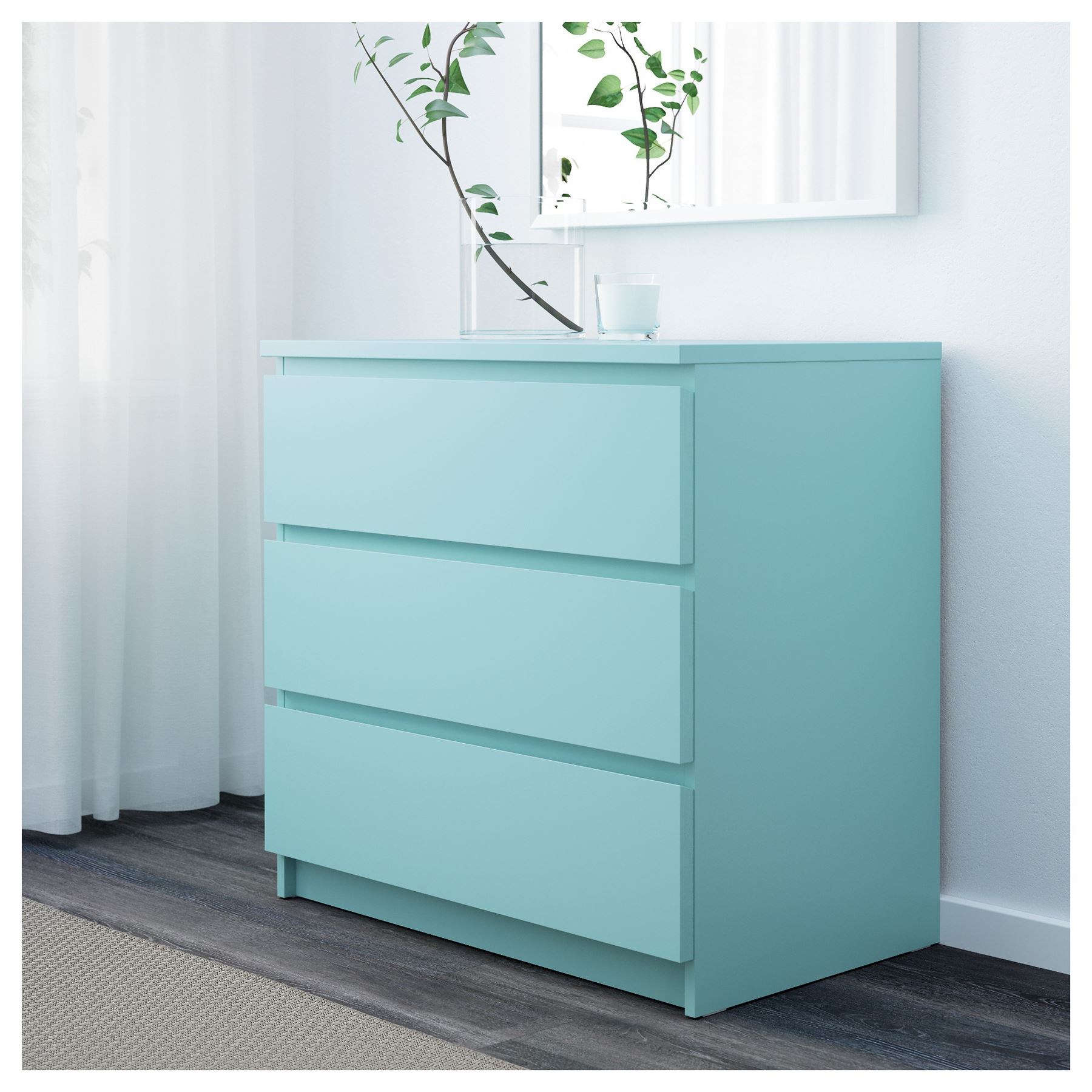 turquoise bedroom furniture. Ikea Malm Chest Of 3 Drawers 80x78cm Light Turquoise Bedroom Furniture E