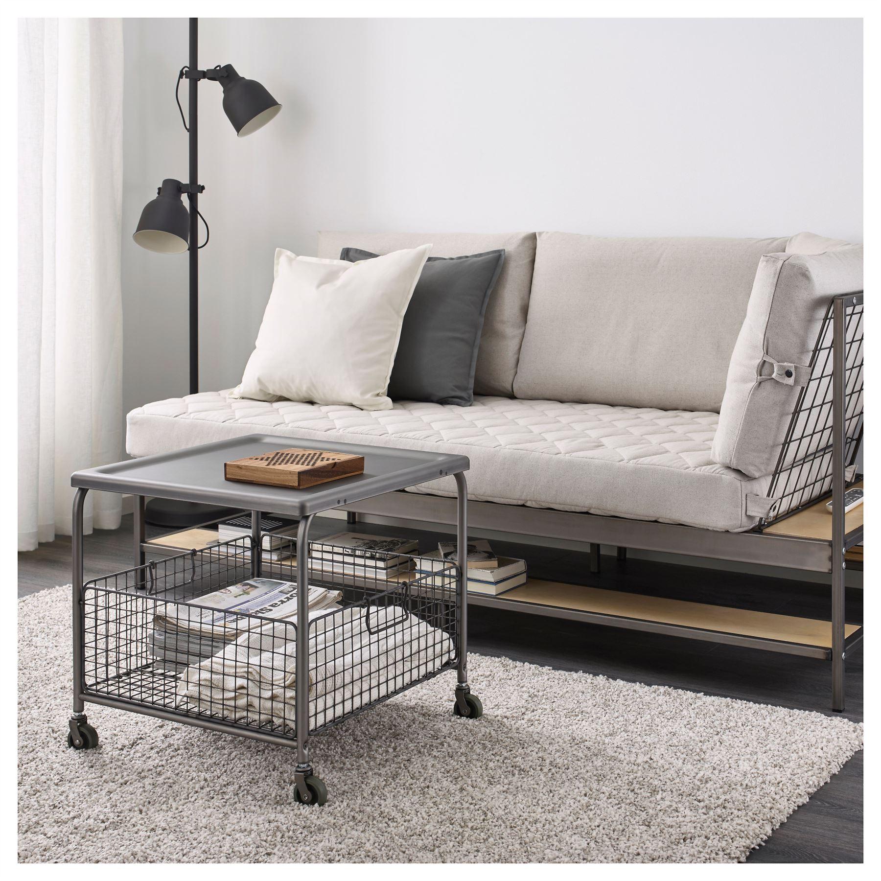 Ikea Lallerod Coffee Table with Storage Basket on Castors Steel