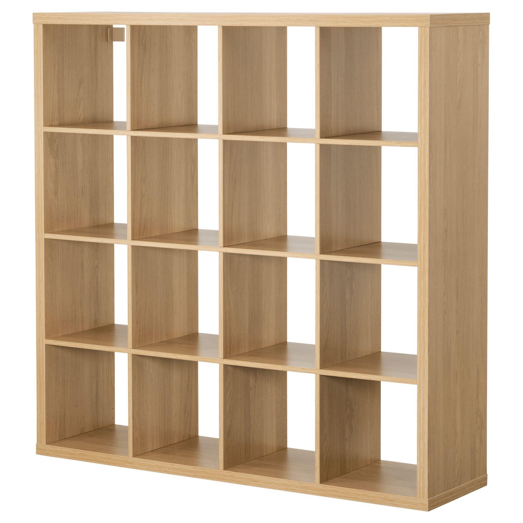 Ikea Kallax 16 Cube Storage Bookcase Square Shelving Unit Oak Ebay # Bureau Kallax