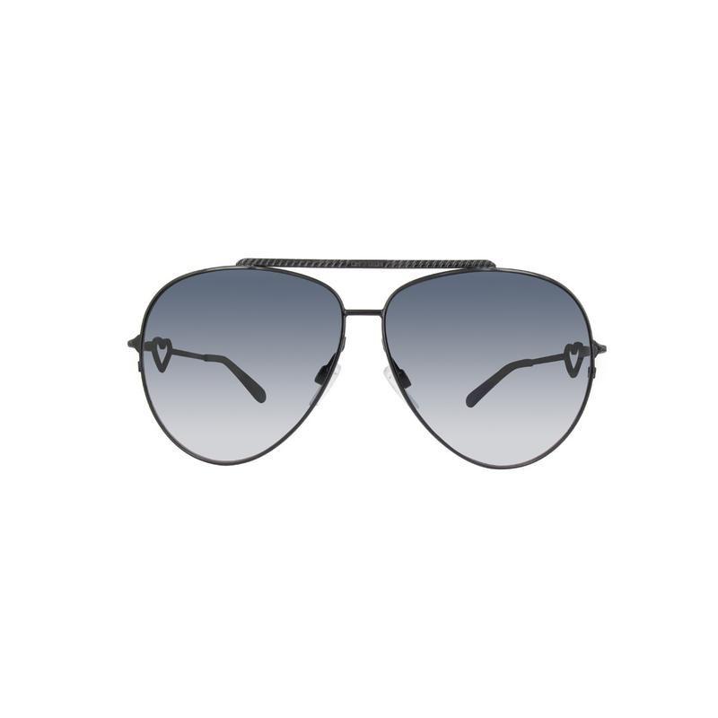 dc8e260e97027 Details about Moschino MO53801 61-10-125 Ladies Black Aviator Sunglasses