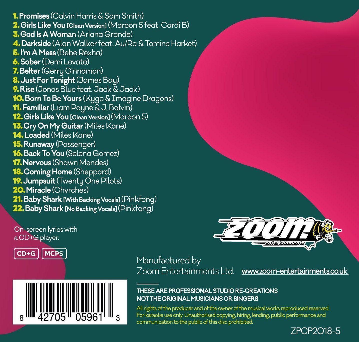621c5eae6 Zoom Karaoke CD+G - Pop Chart Picks 2018 Part 5 + FREE Ladies of Soul New