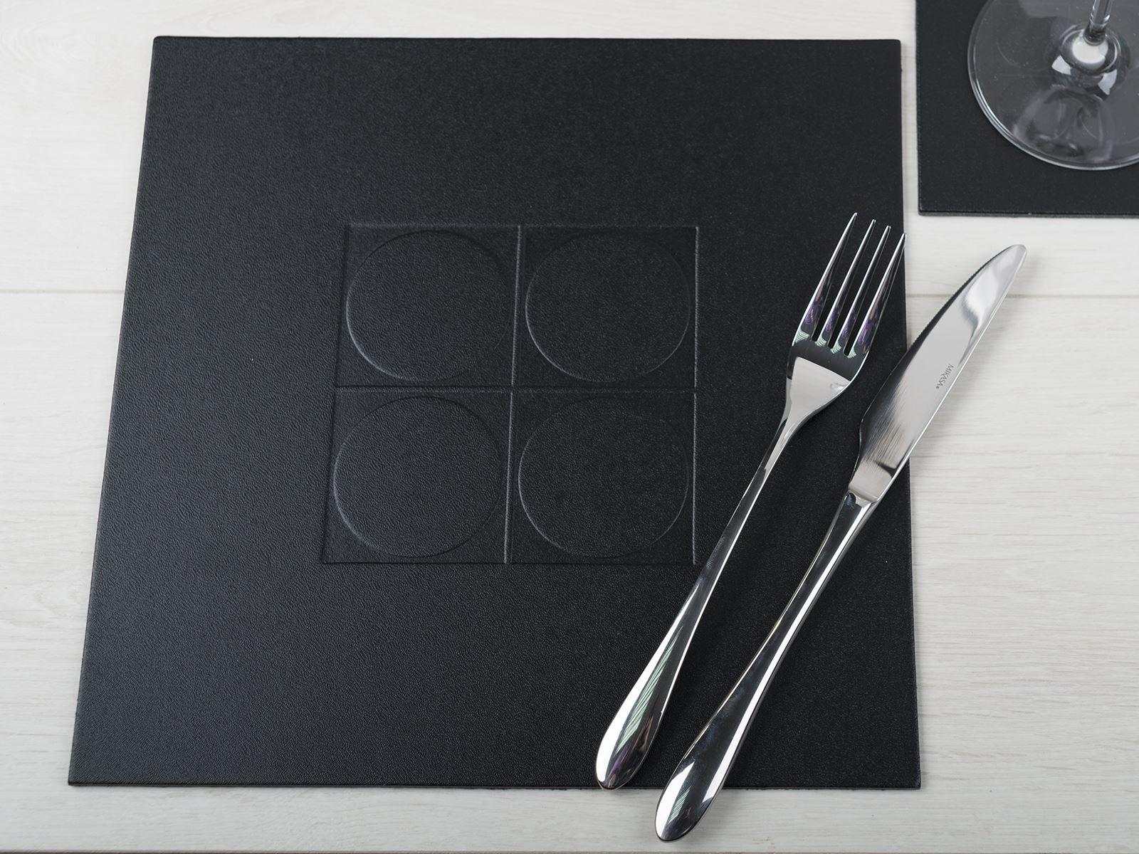 set of 4 black embossed square placemats leatherboard table mats ebay. Black Bedroom Furniture Sets. Home Design Ideas