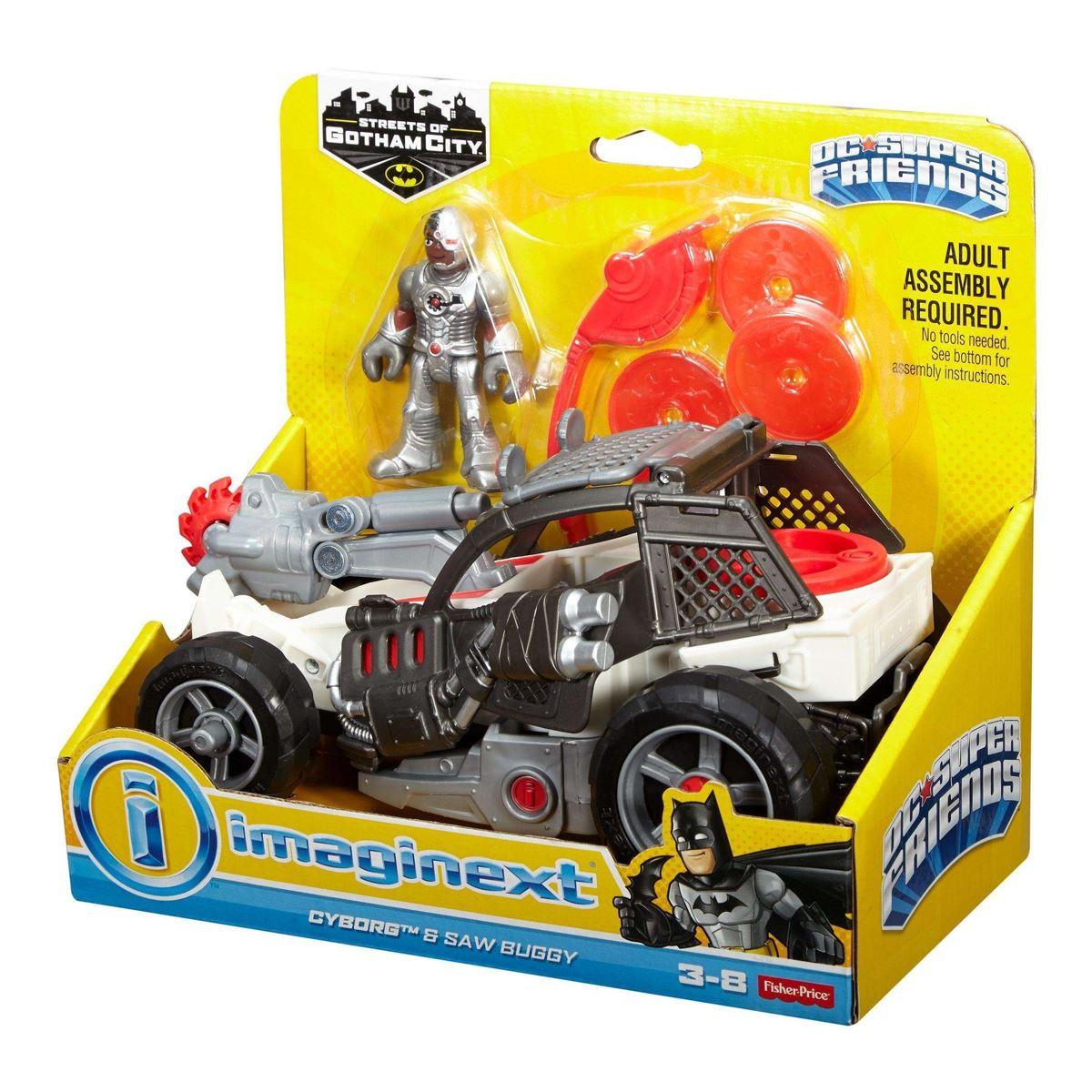 Nouveau Imaginext DC Super Friends Cyborg /& Saw Buggy//The riddler Hot Rod officiel