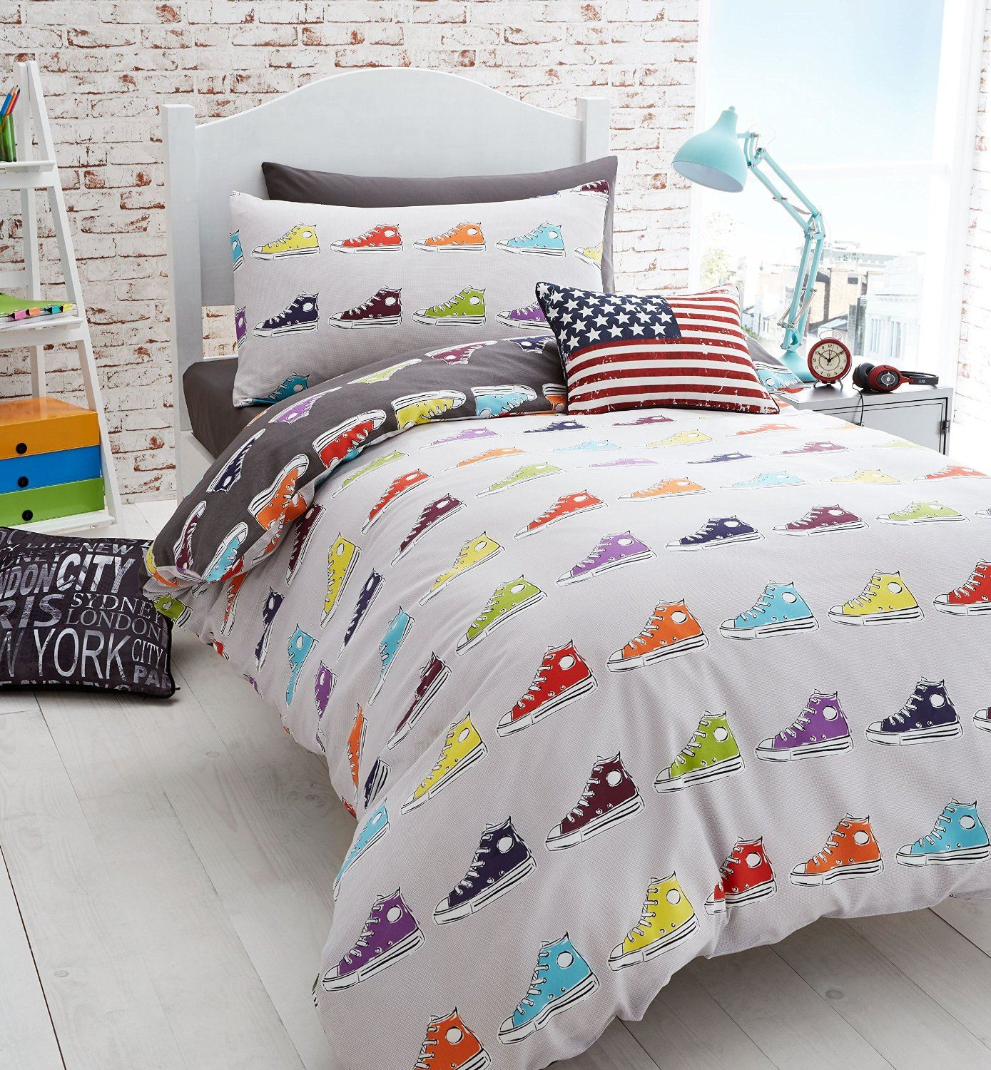 Bed cover in bedding ebay - Sneakers Shoes Bedding Trainers Duvet Cover Teenager Bedroom Funky Bright Design
