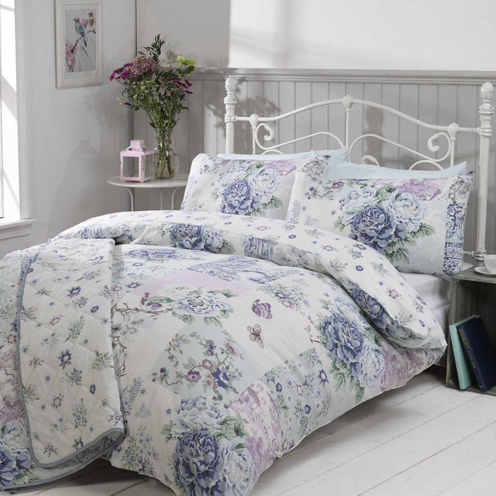 Oriental Patchwork Floral Shabby Chic Bedding Duvet Cover Blue Pink Designs