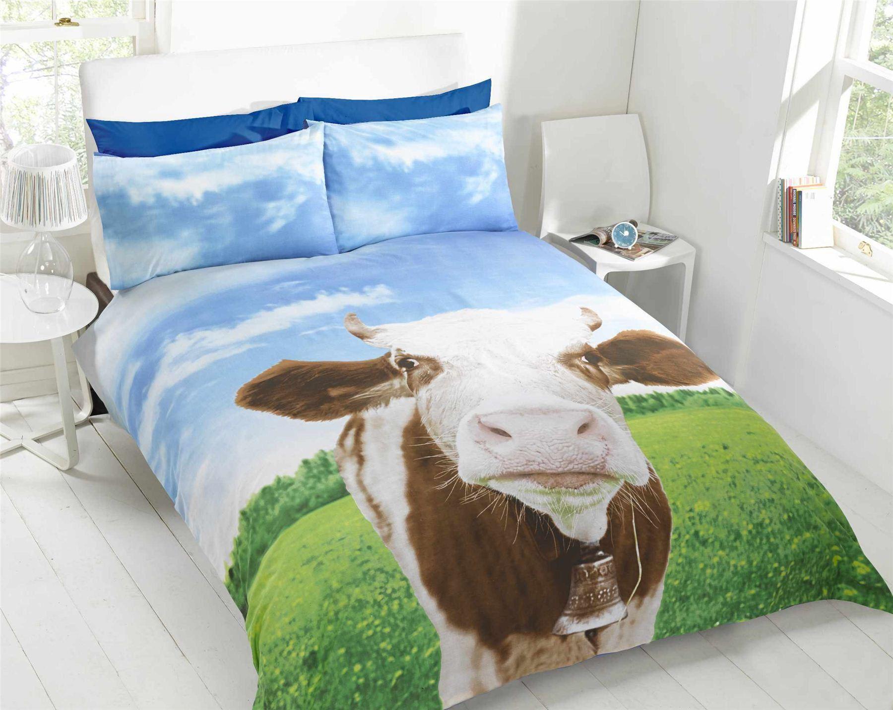 Daisy Cow Bedding Photo Print Novelty Duvet Cover Bright