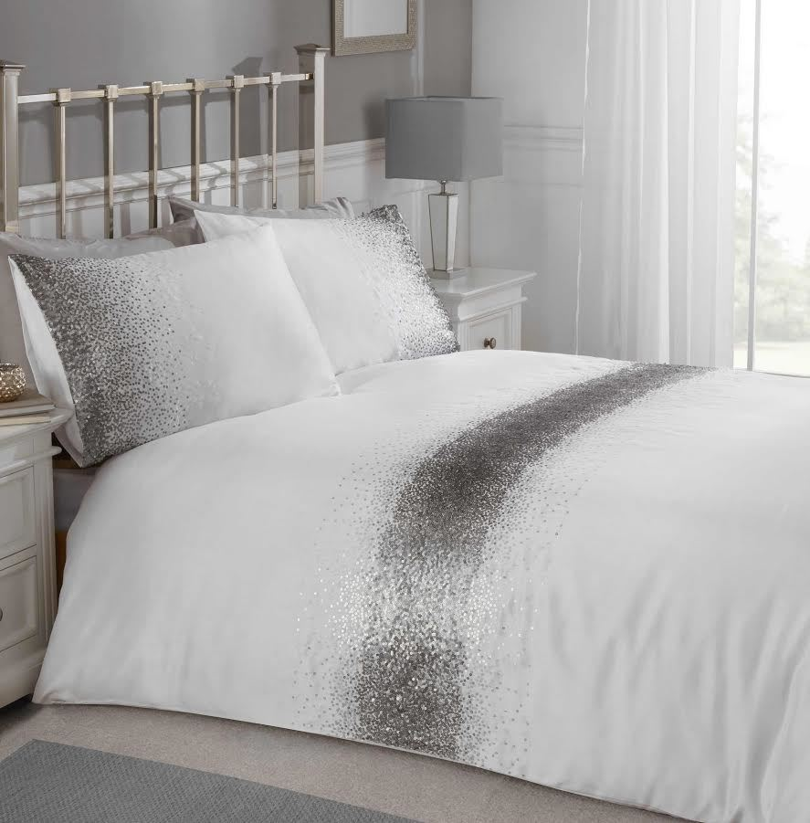 Shimmer Sparkly Pink Silver Glitter Bling Luxury Lush Shabby Chic Duvet Bedding
