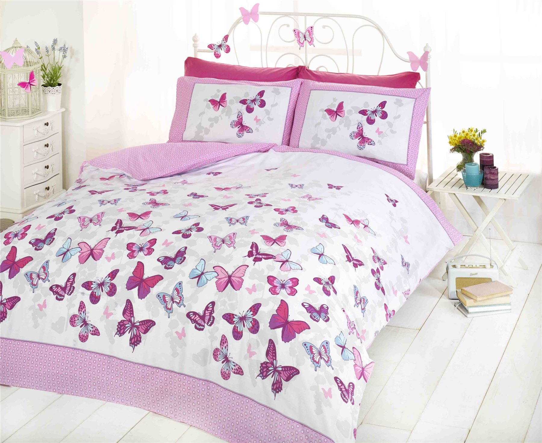 Bed cover in bedding ebay - Flutter Butterfly Butterflies Pink Girls Childrens Bedding Quilt Set Duvet Cover